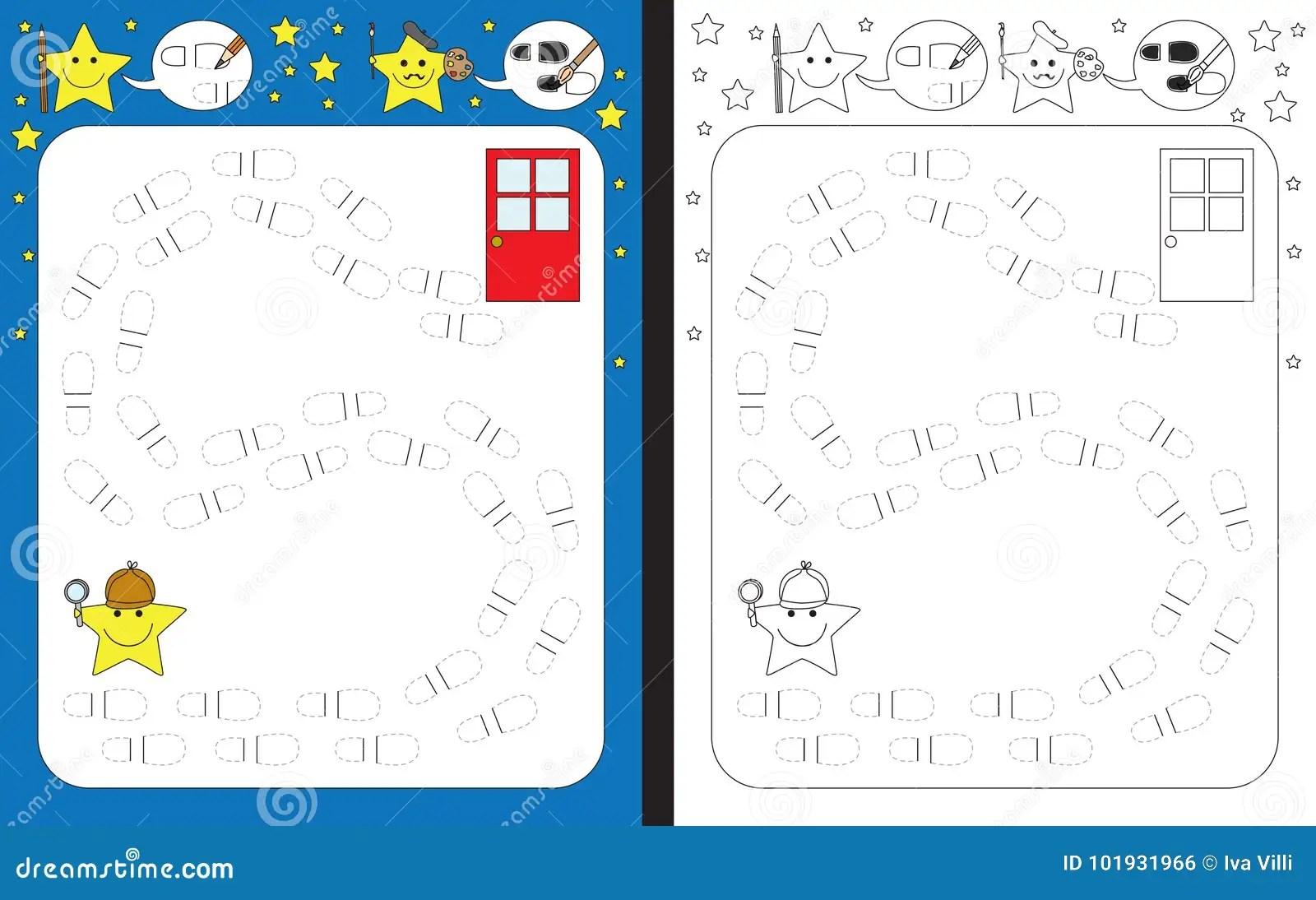 Preschool Worksheet Stock Vector Illustration Of Door