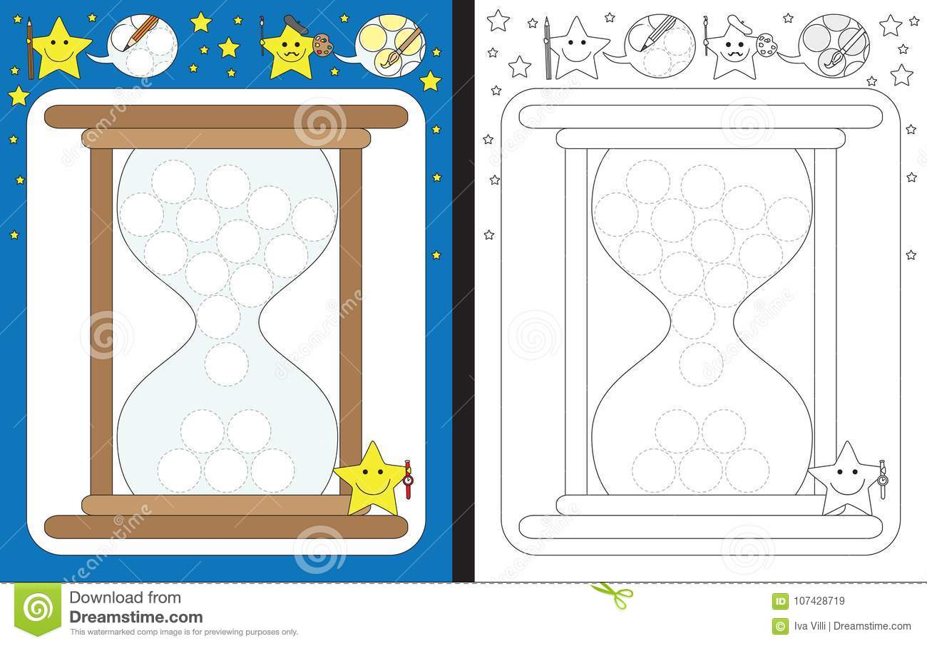 Preschool Worksheet Stock Vector Illustration Of Time