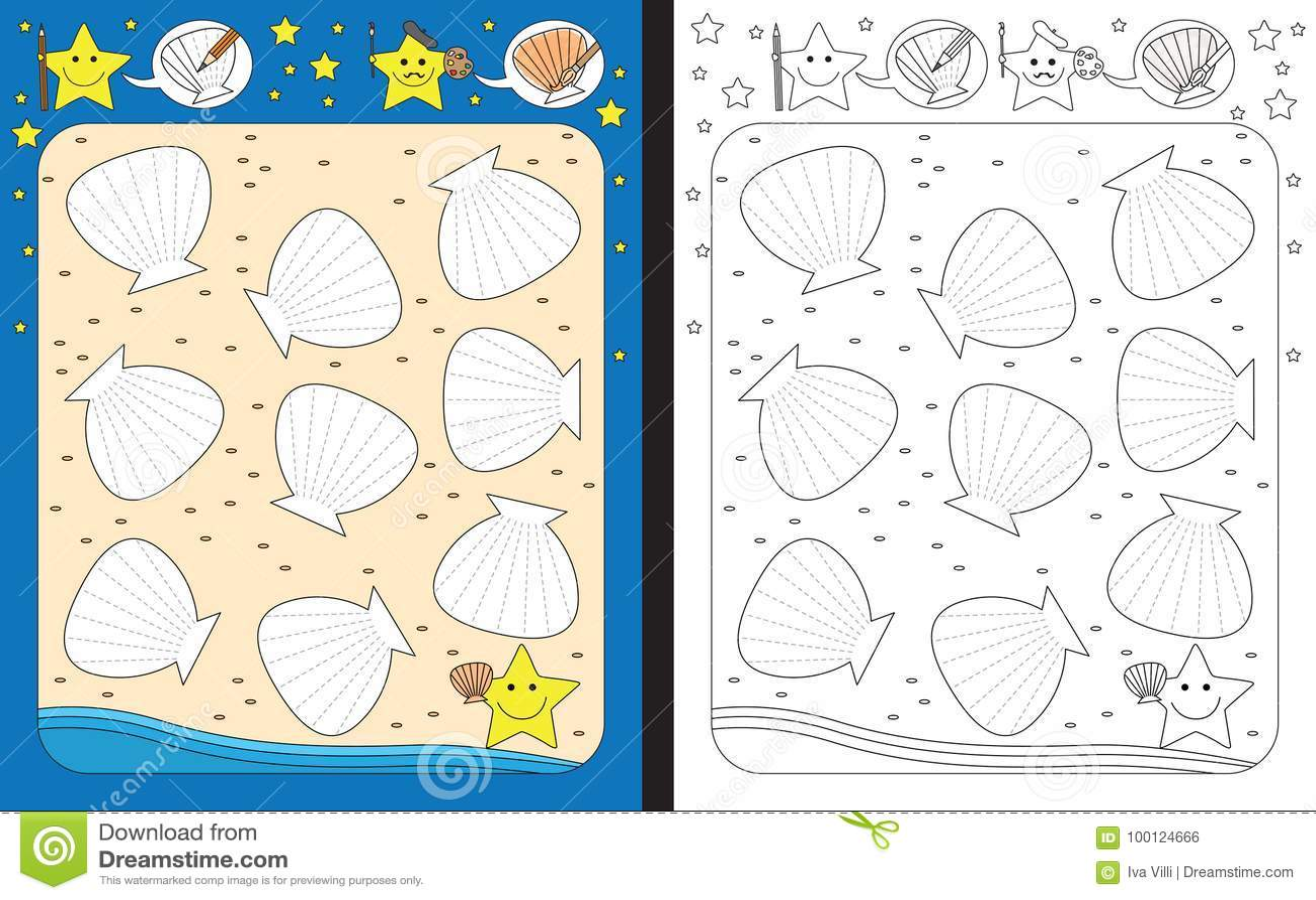Preschool Worksheet Stock Vector Illustration Of Contour