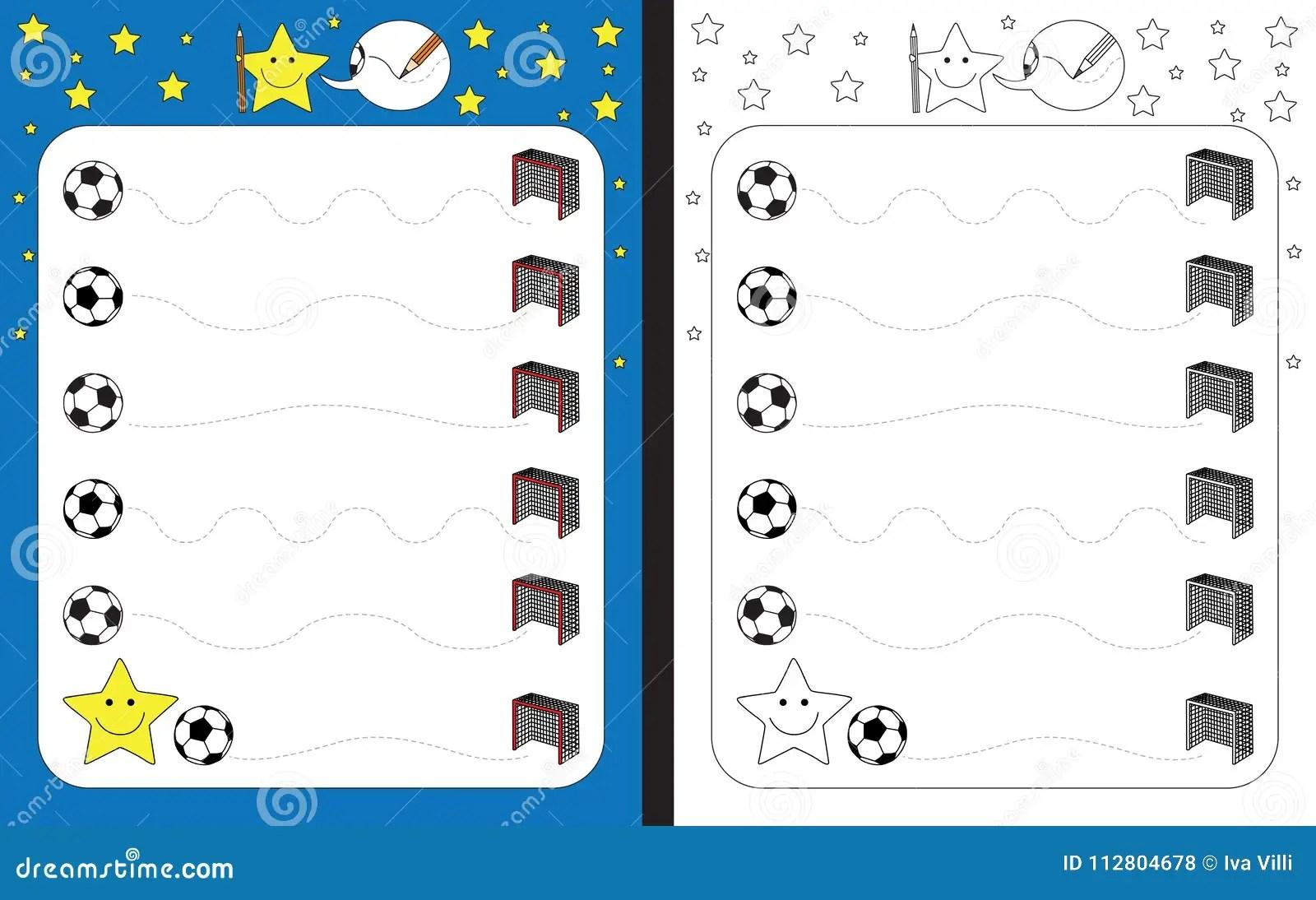 Preschool Worksheet Stock Vector Illustration Of Soccer