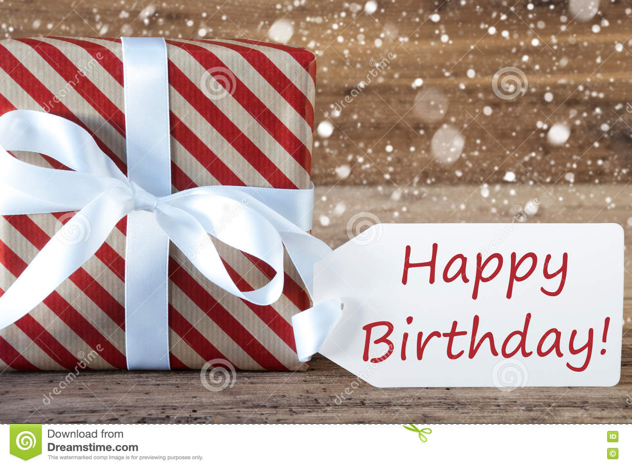 Present With Snowflakes Text Happy Birthday Stock Photo Image Of Card Festive 79271552