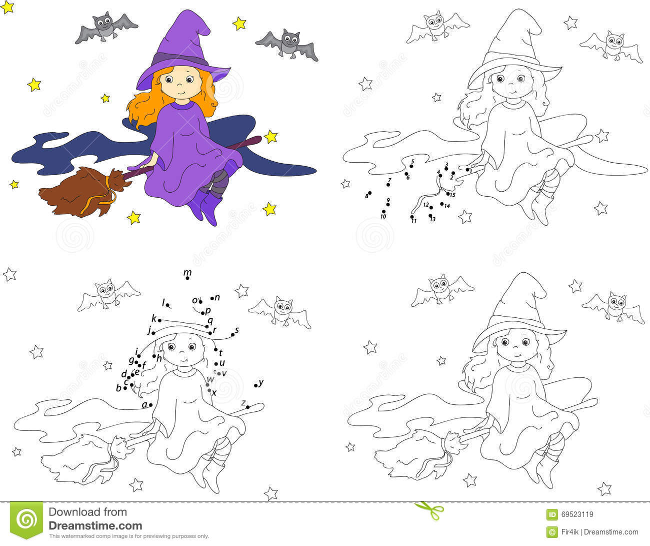 Pretty Friendly Witch Flying On A Broomstick In The Night Sky On Stock Vector