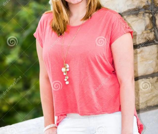 Beautiful Pretty Cute Teen Girl With Blonde Hair Standing