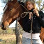 Pretty Young Cowgirl With A Horse Stock Photo Image Of Beauty Clothes 159526448