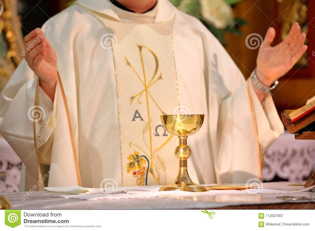 Priest Celebrate Mass At The Church Stock Image