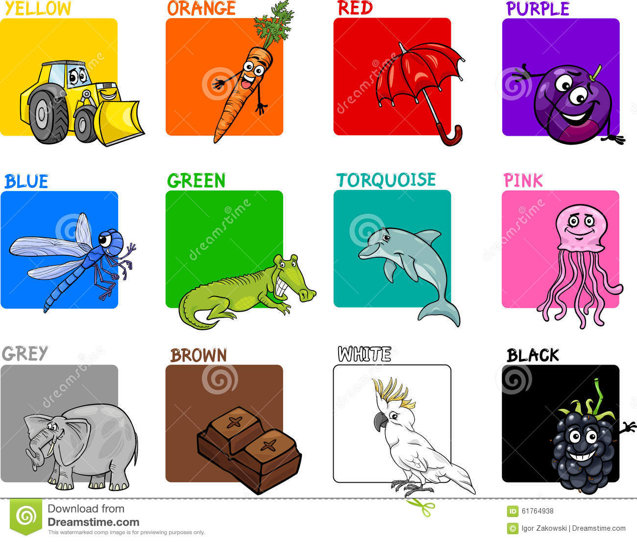 Primary Colors Cartoon Set Stock Vector Illustration Of