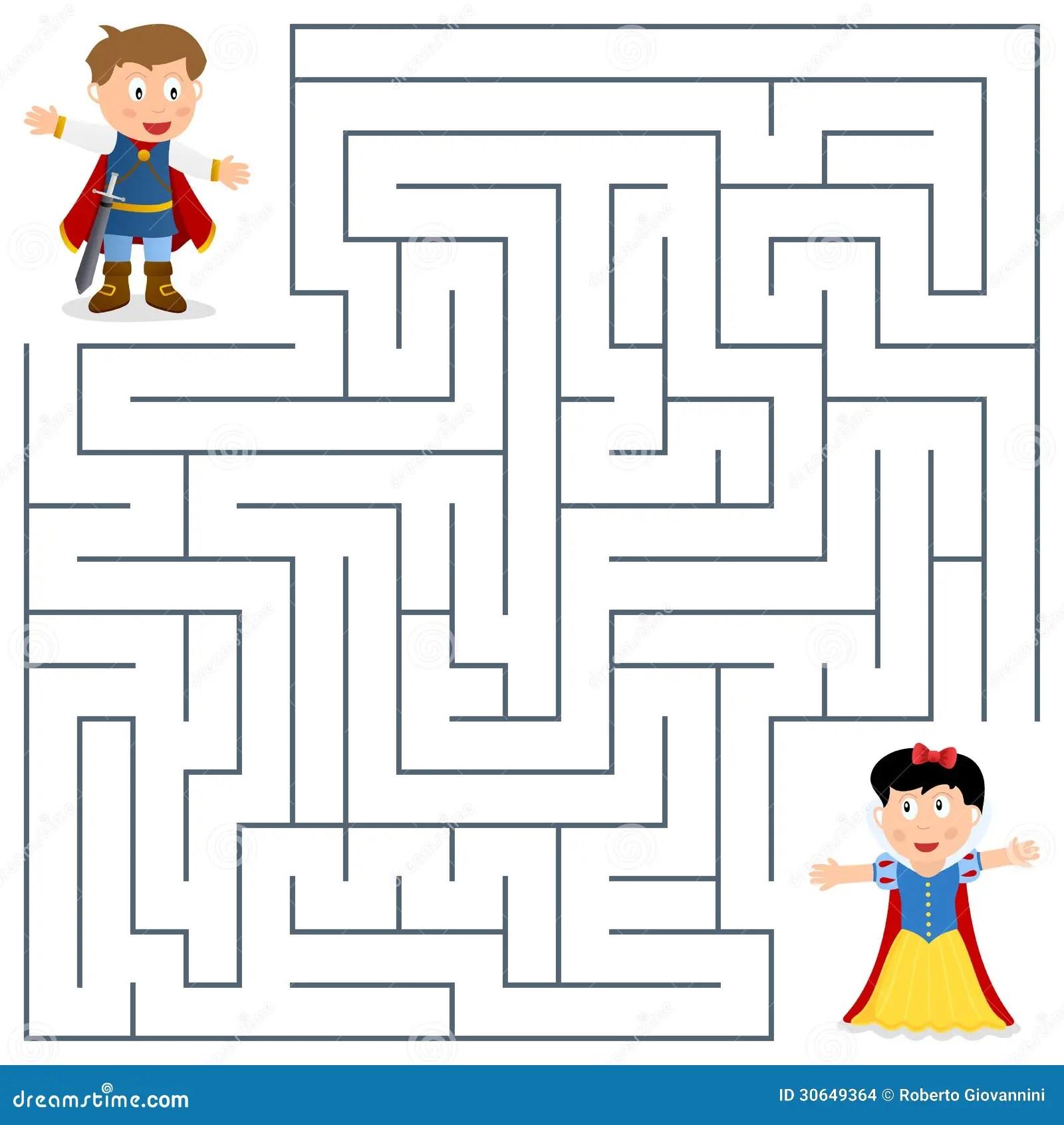 Prince Amp Princess Maze For Kids Stock Vector