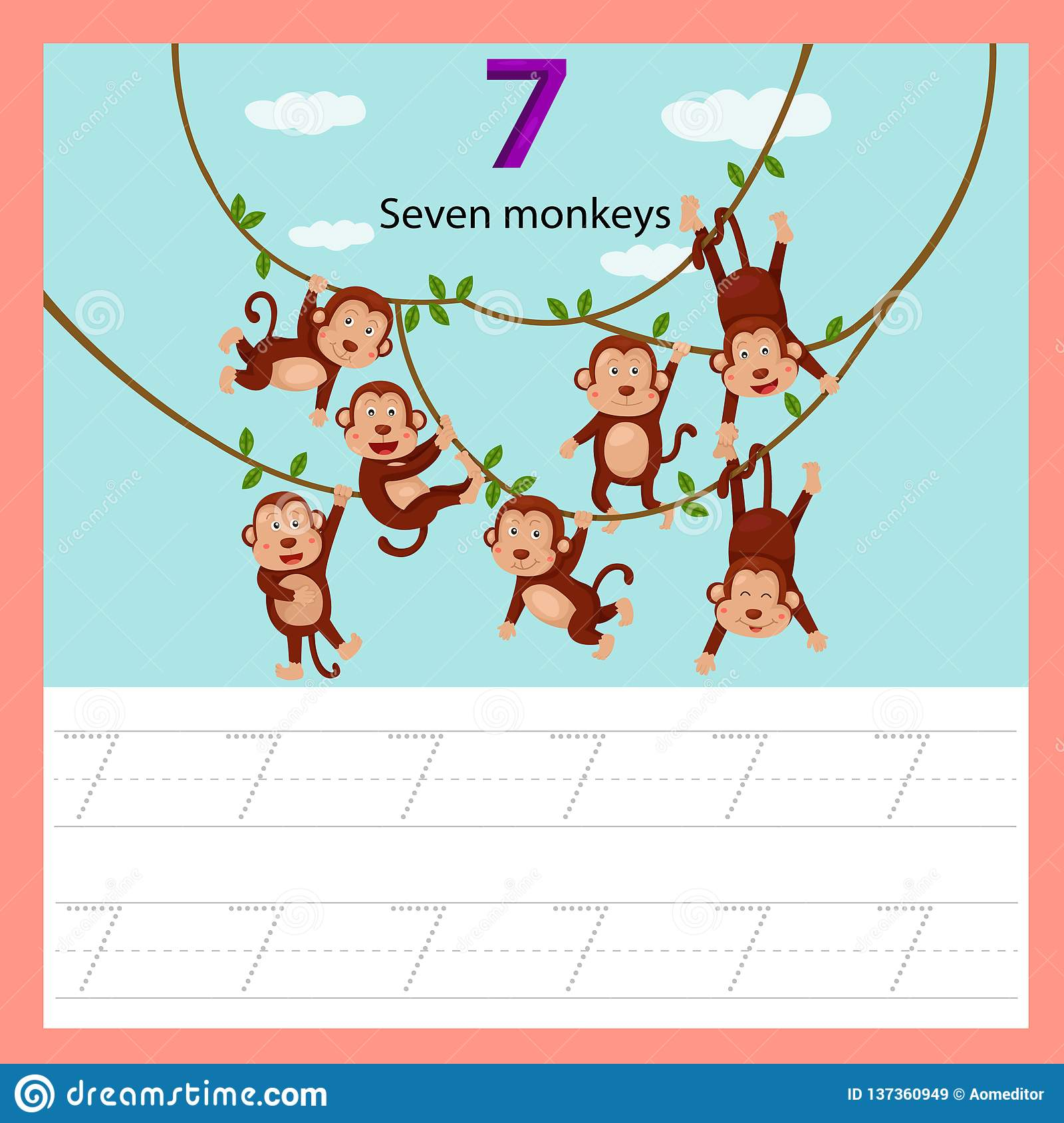 Illustrator Of Worksheet Seven Monkey Stock Vector