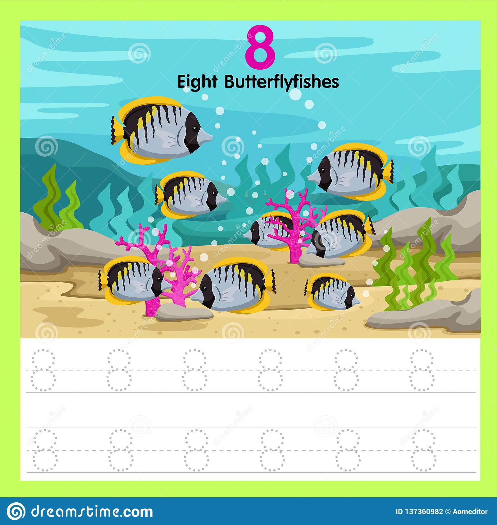 Illustrator Of Worksheet Eight Butterfly Fishes Stock