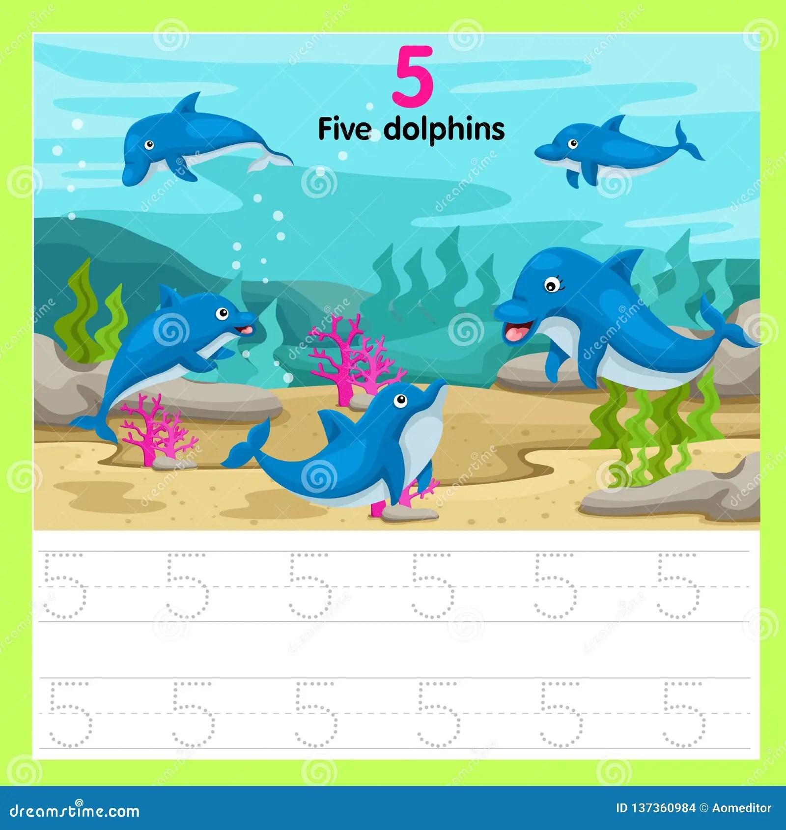 Illustrator Of Worksheet Five Dolphins Stock Vector