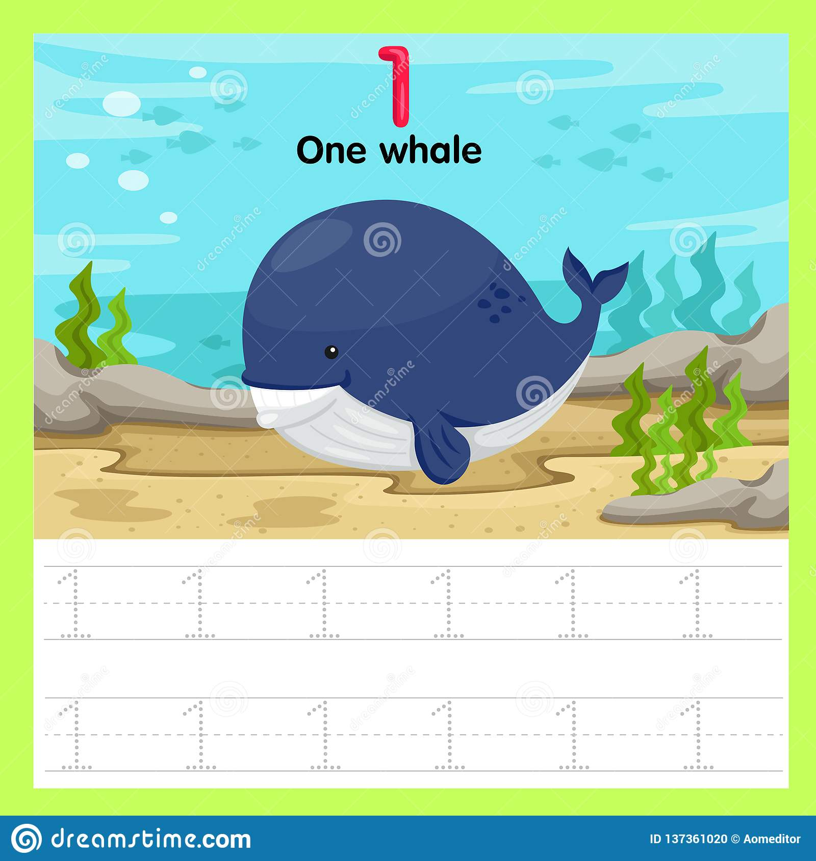 Illustrator Of Worksheet One Whale Stock Vector