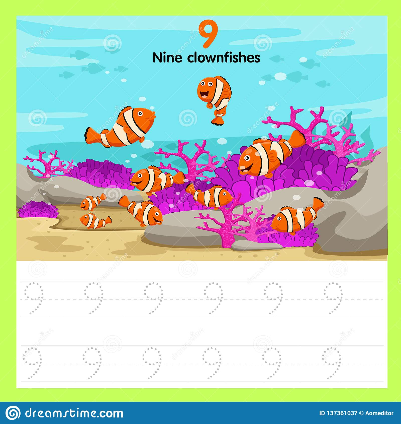 Illustrator Of Worksheet Nine Clown Fishes Stock Vector