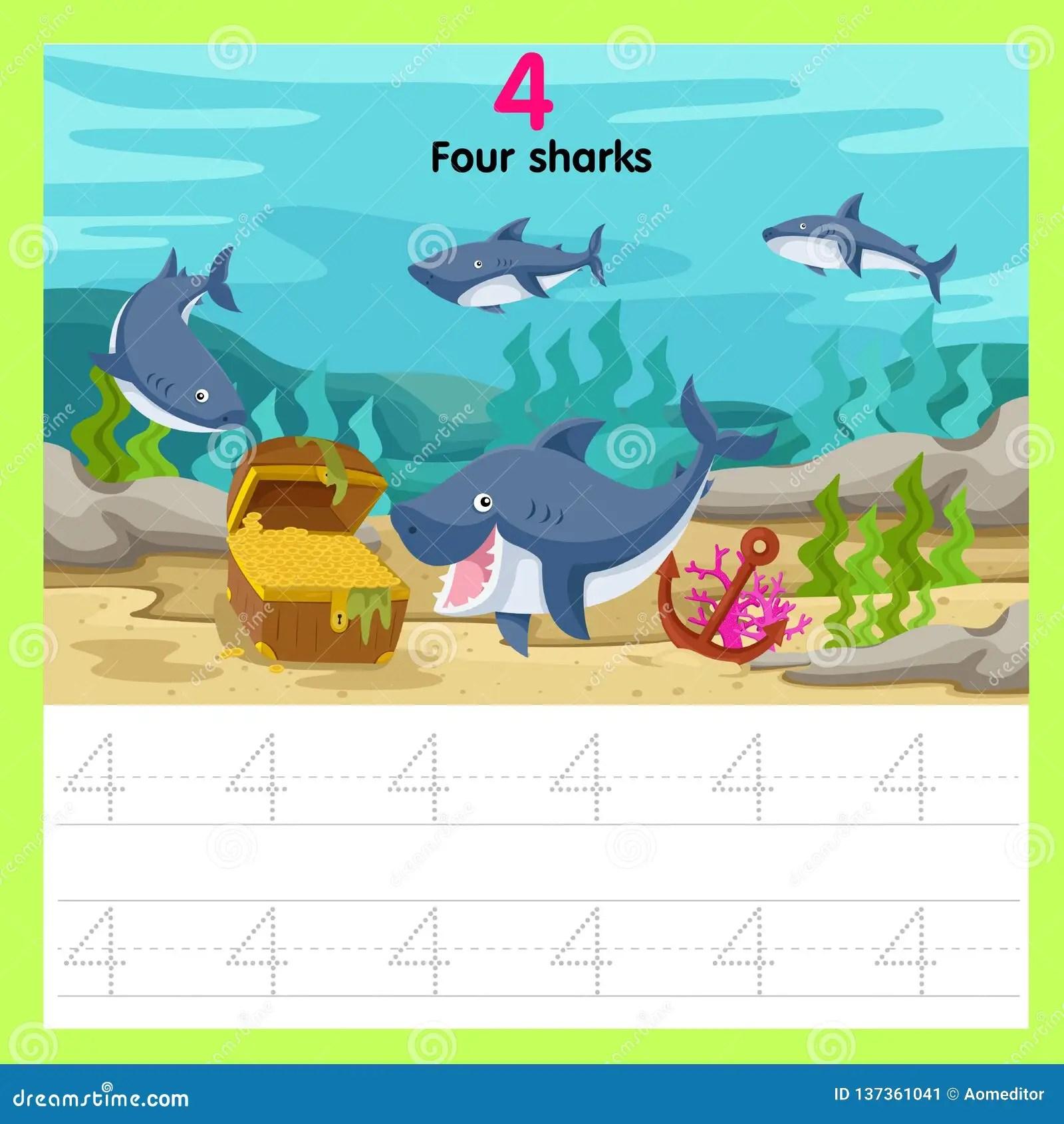 Illustrator Of Worksheet Four Sharks Stock Vector