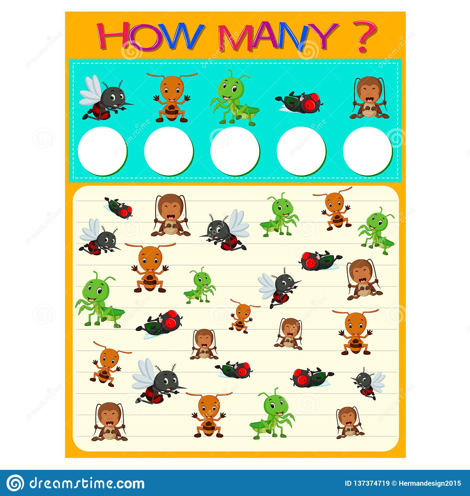 How Many Worksheet With Many Insects Stock Vector