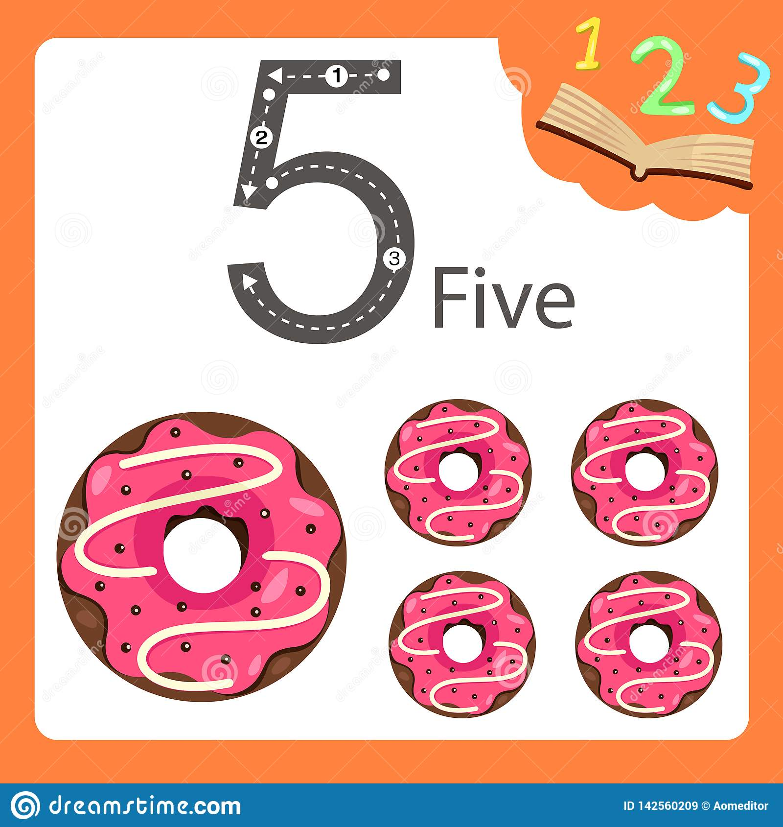 Illustrator Of Five Number Donut Stock Vector