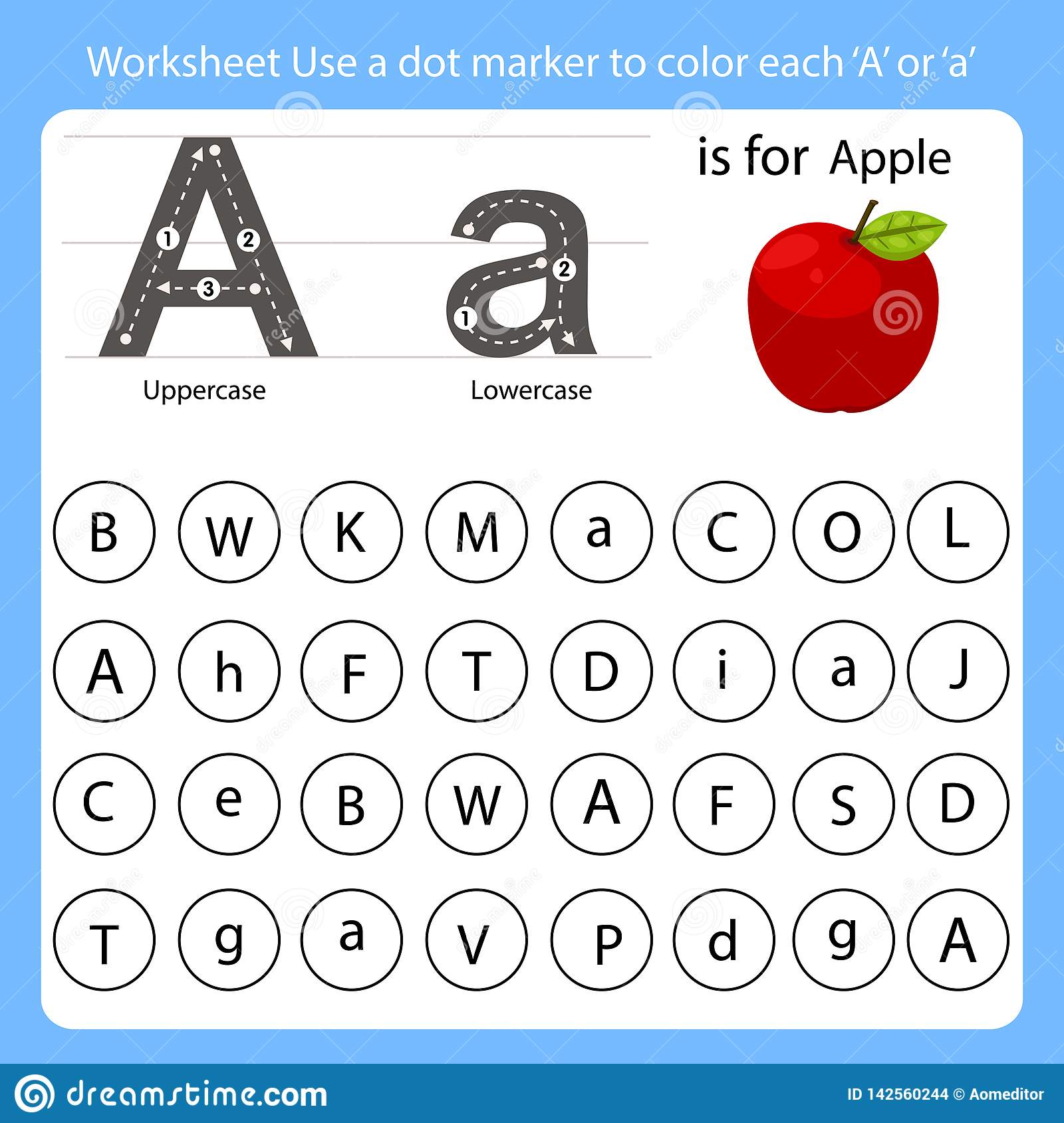 Worksheet Use A Dot Marker To Color Each A Stock Vector