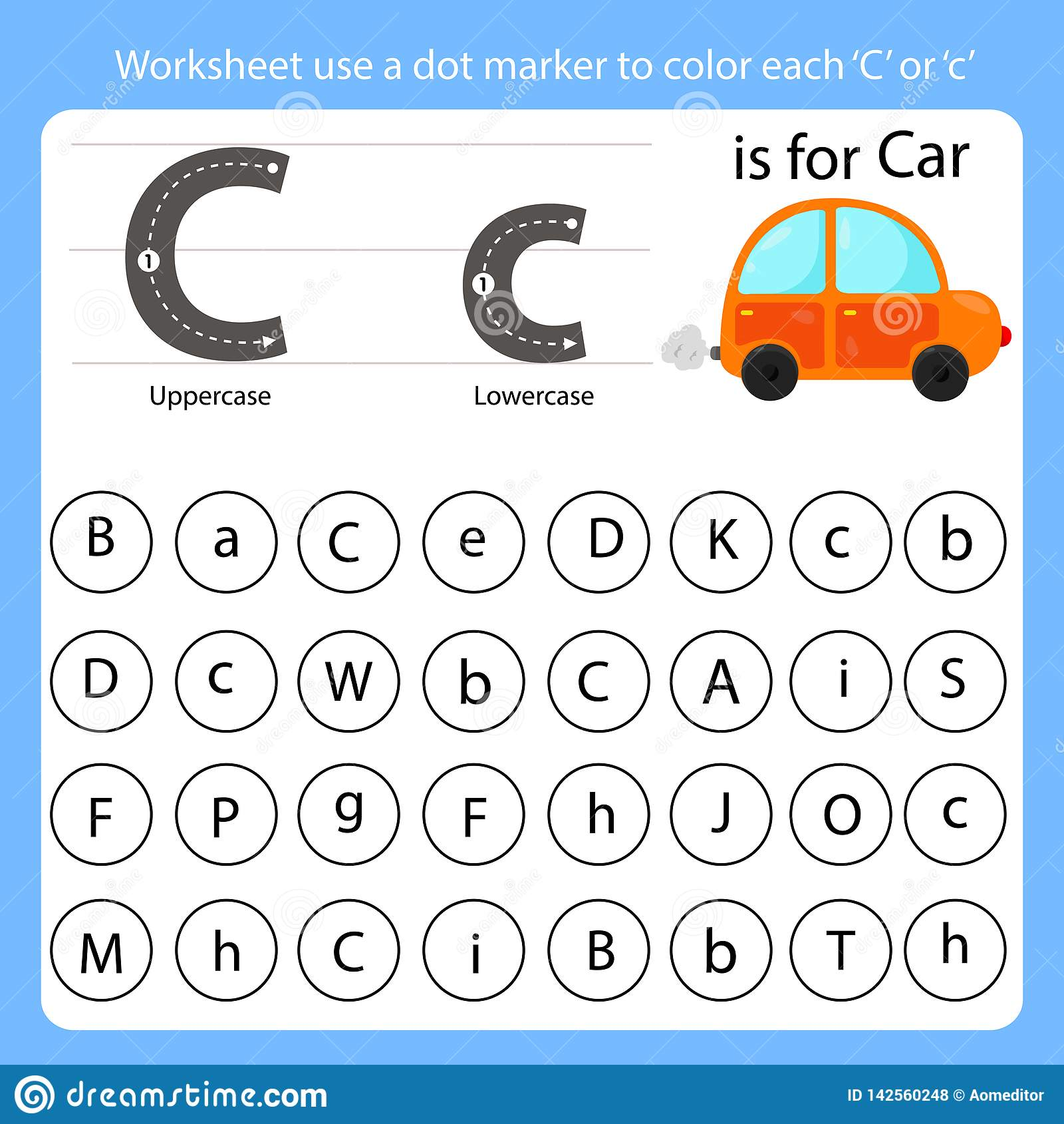 Worksheet Use A Dot Marker To Color Each C Stock Vector