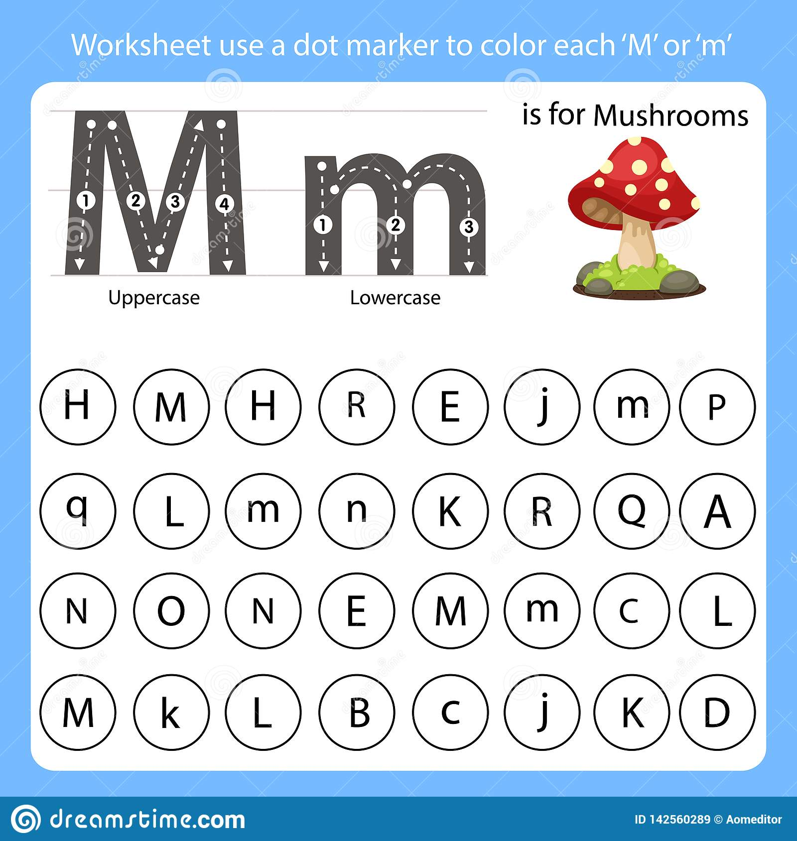 Worksheet Use A Dot Marker To Color Each M Stock Vector