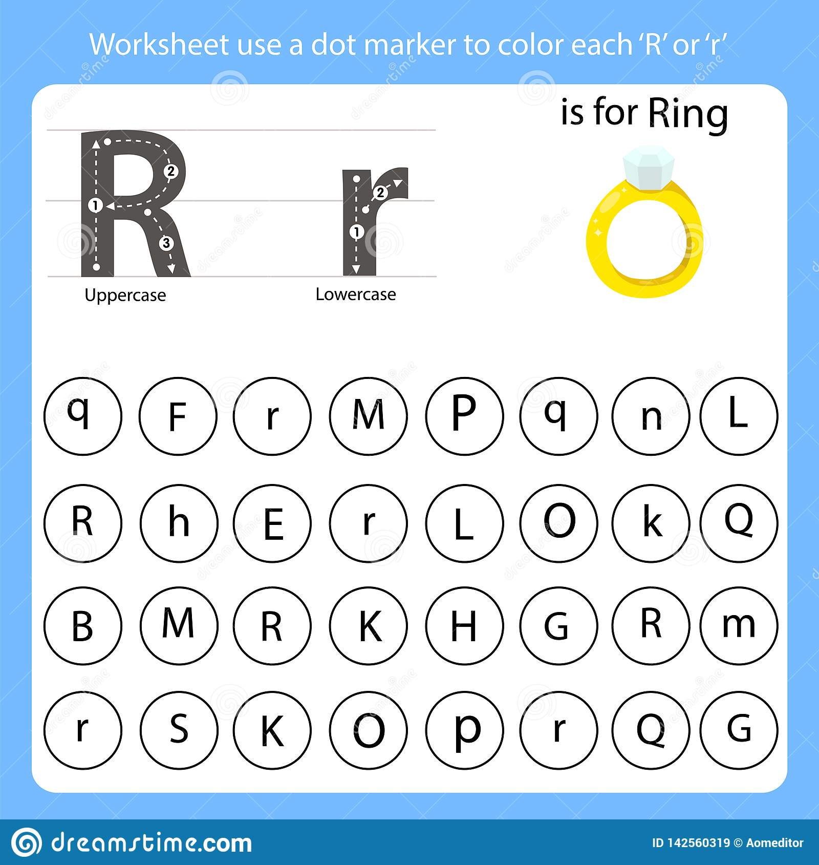 Worksheet Use A Dot Marker To Color Each R Stock Vector