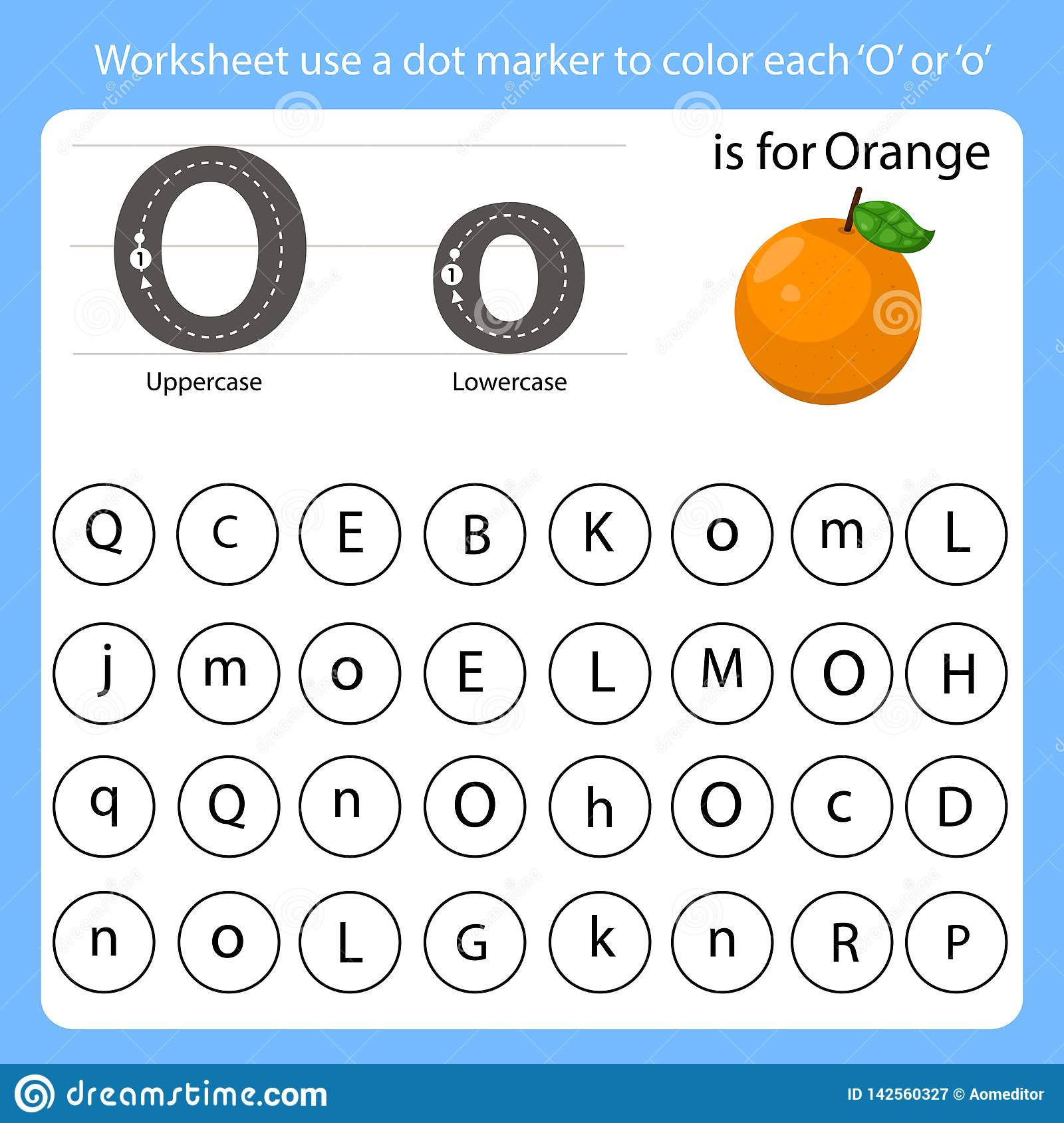 Worksheet Use A Dot Marker To Color Each O Stock Vector