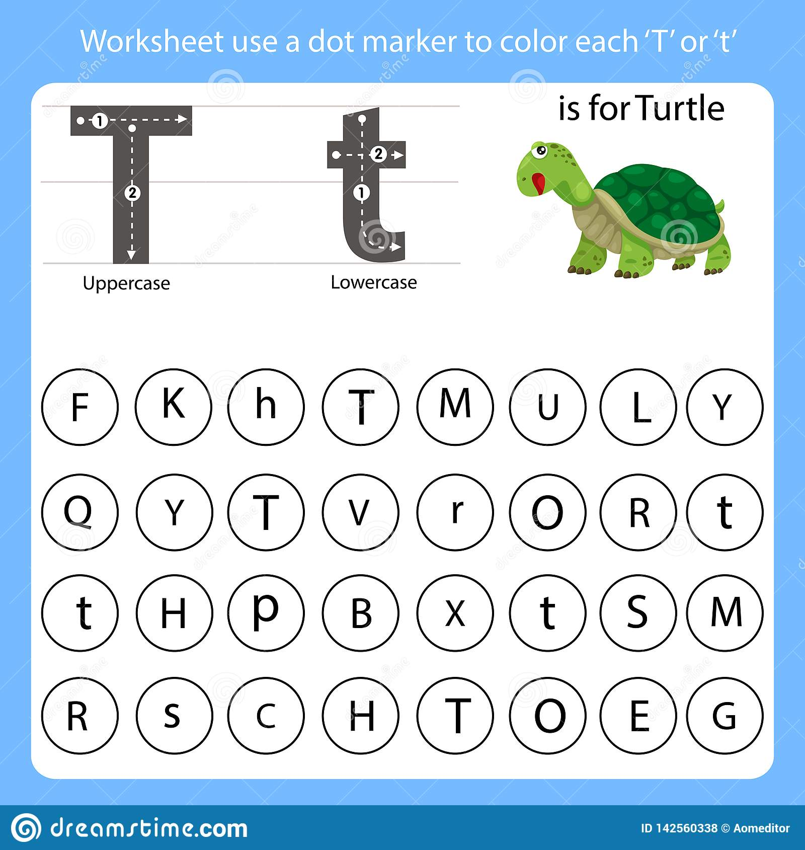 Worksheet Use A Dot Marker To Color Each T Stock Vector