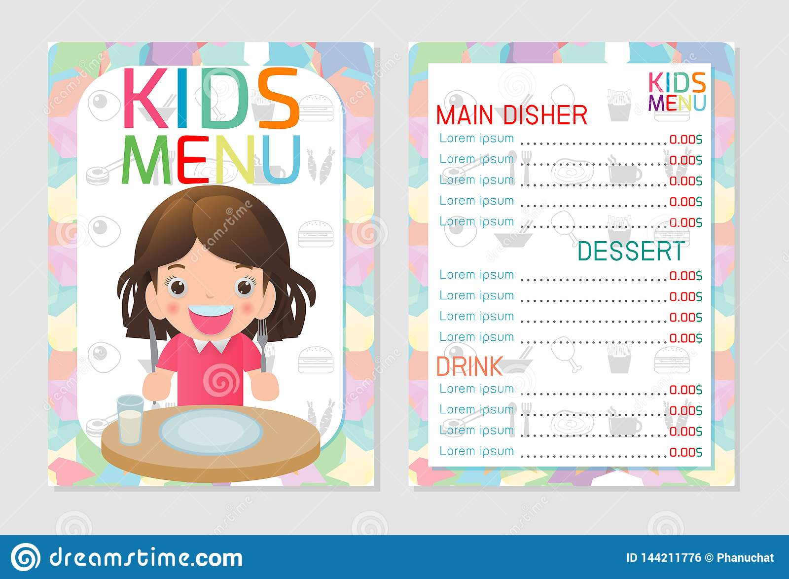 Cute Colorful Kids Meal Menu Template Design Kids