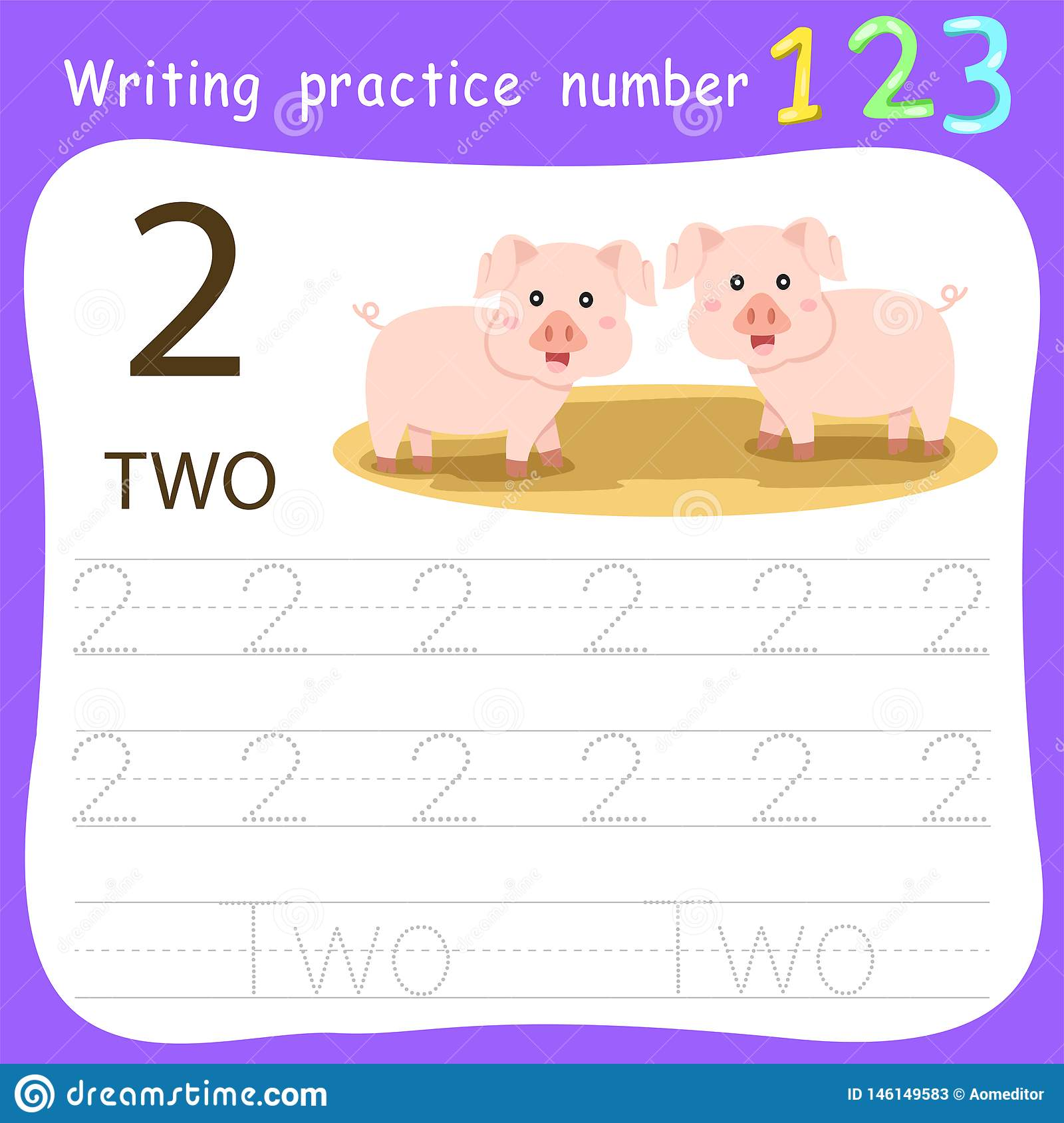 Illustrator Of Worksheet Writing Practice Number Two Stock