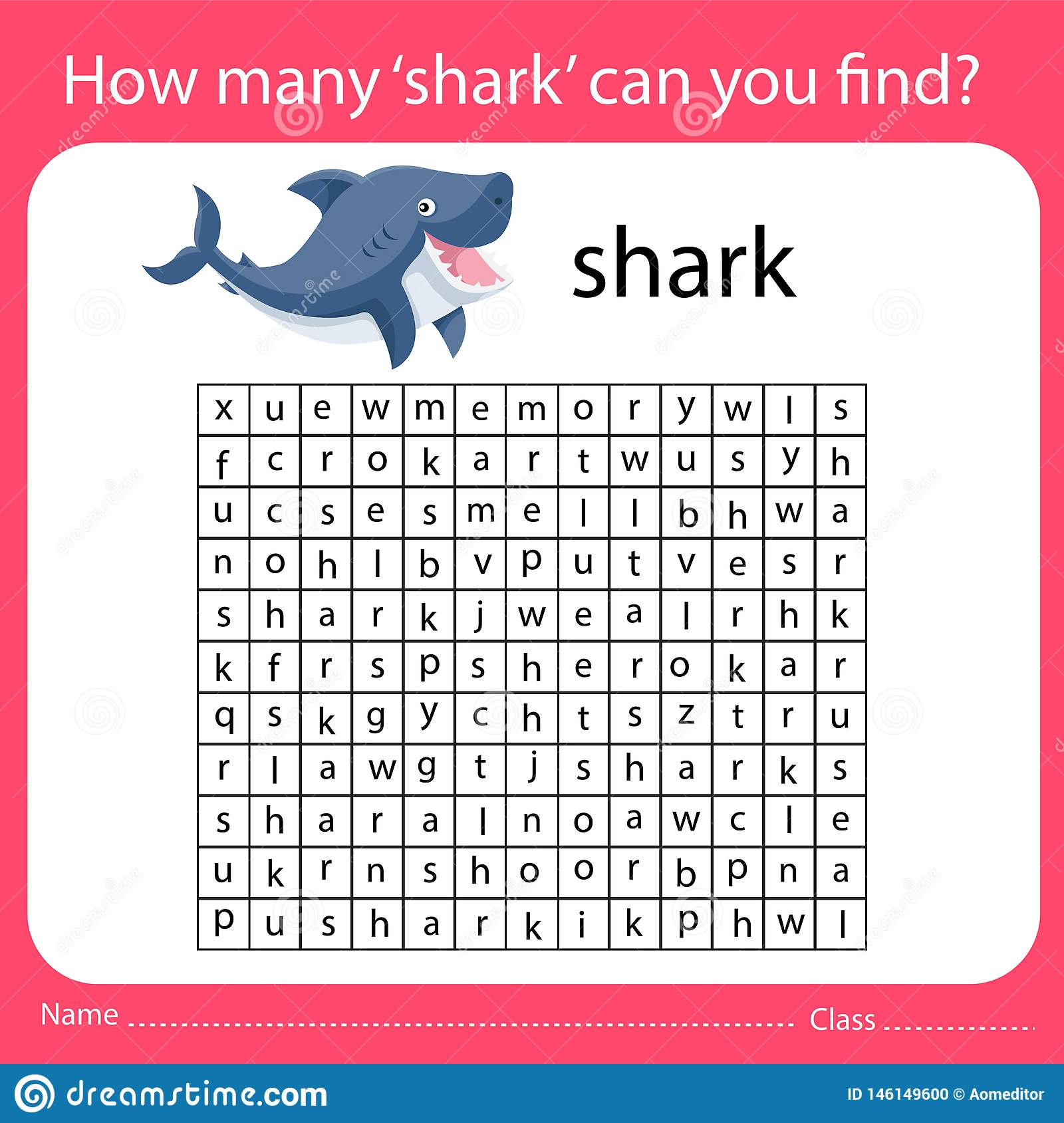 How Many Shark Can You Find Worksheet Stock Vector