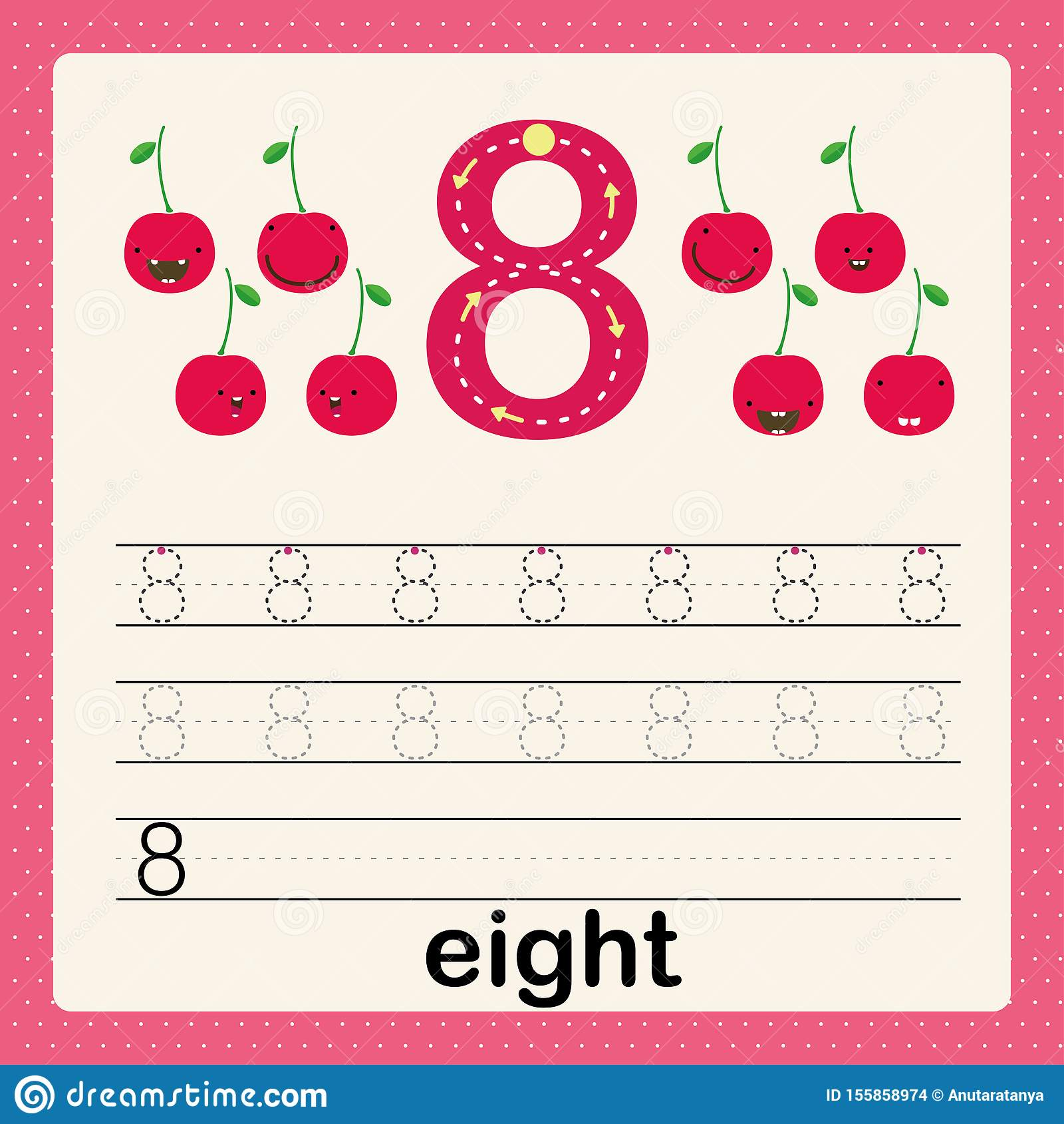 Number 8 Card For Kids Learning To Count And To Write