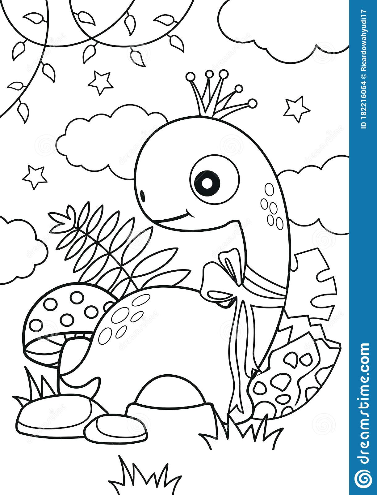 Cute Dinosaur In The Forest Coloring Pages Stock Vector
