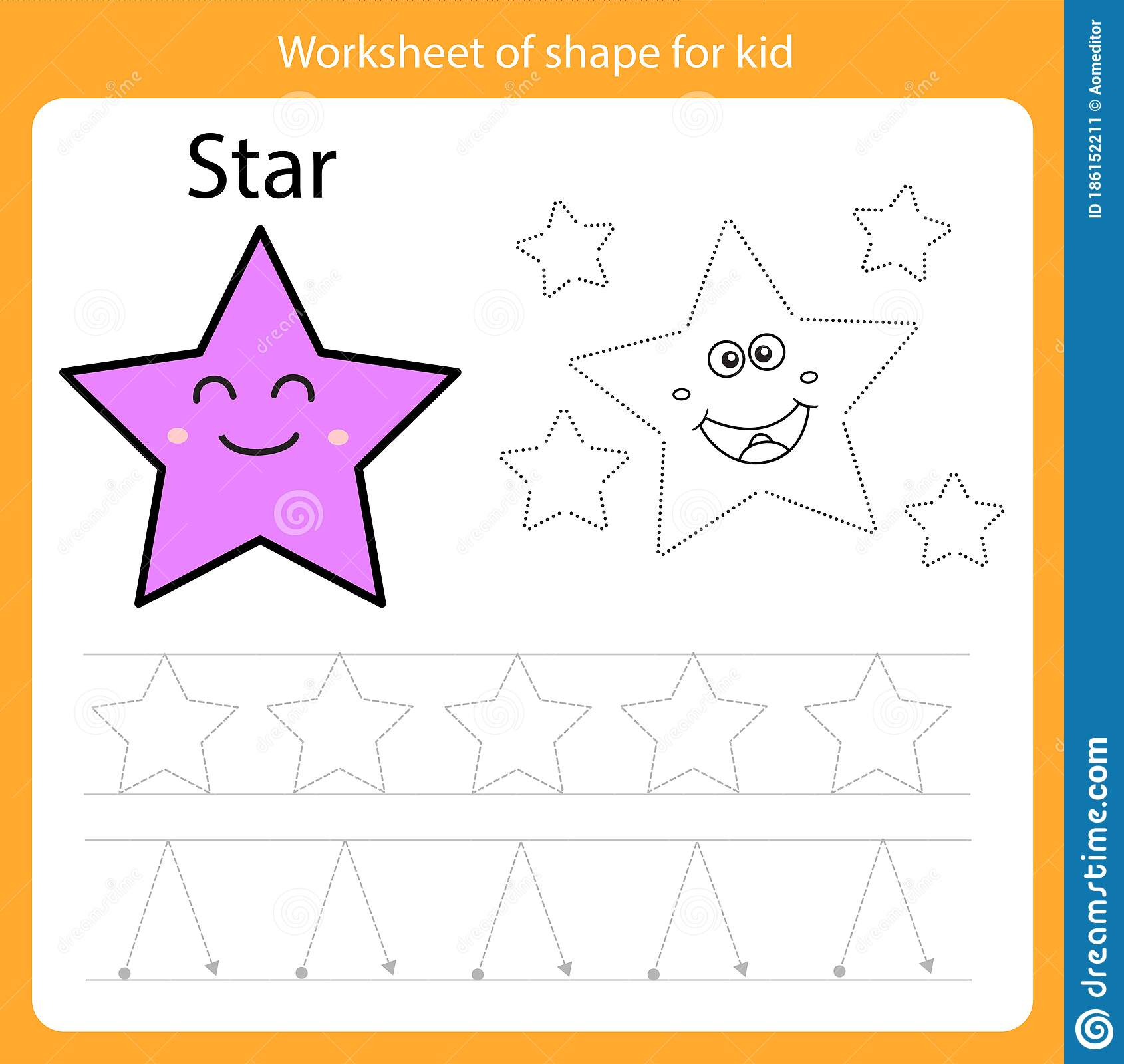 Illustrator Of Worksheet Of Shape For Kid Star Stock