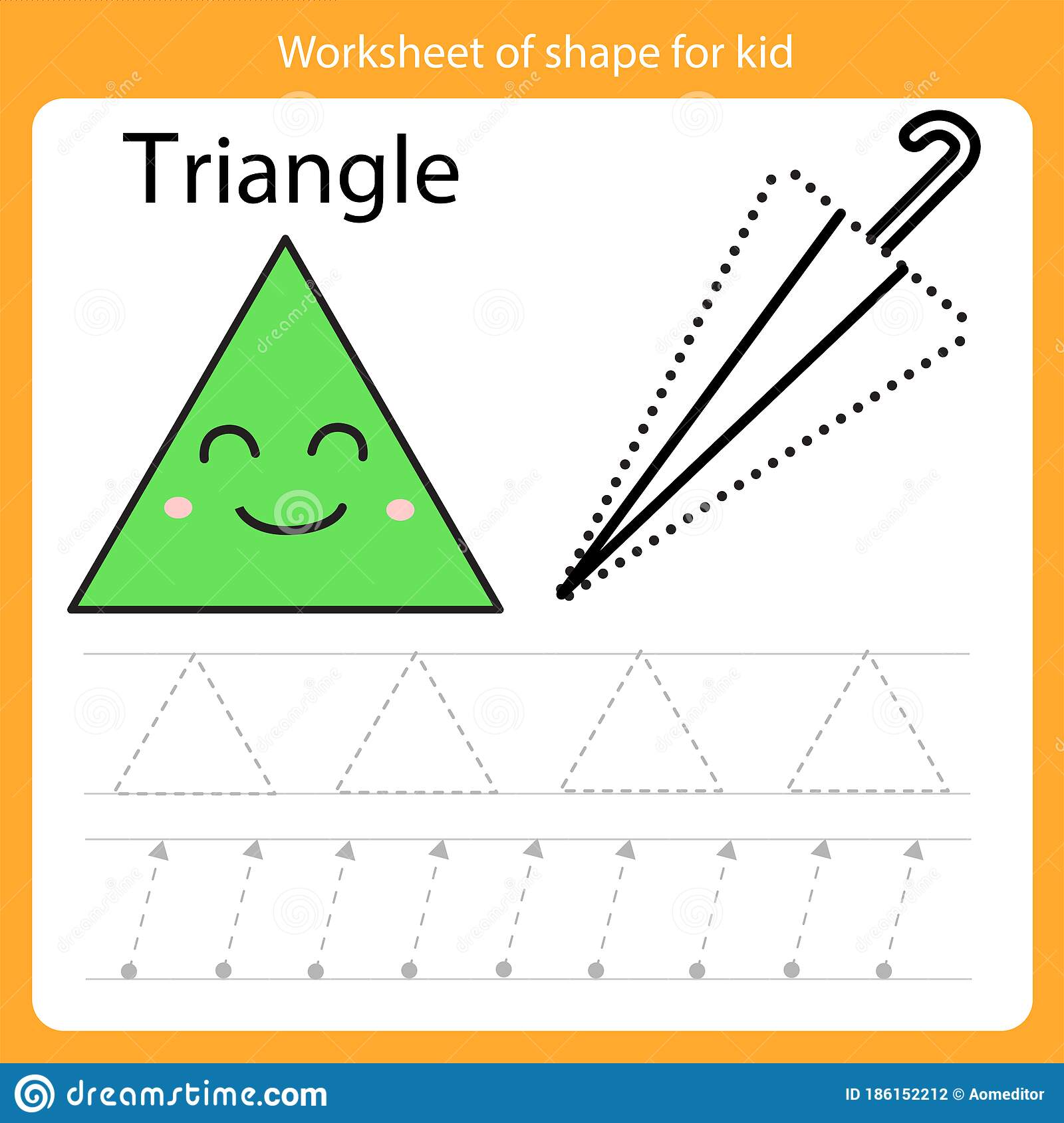 Illustrator Of Worksheet Of Shape For Kid Triangle Stock