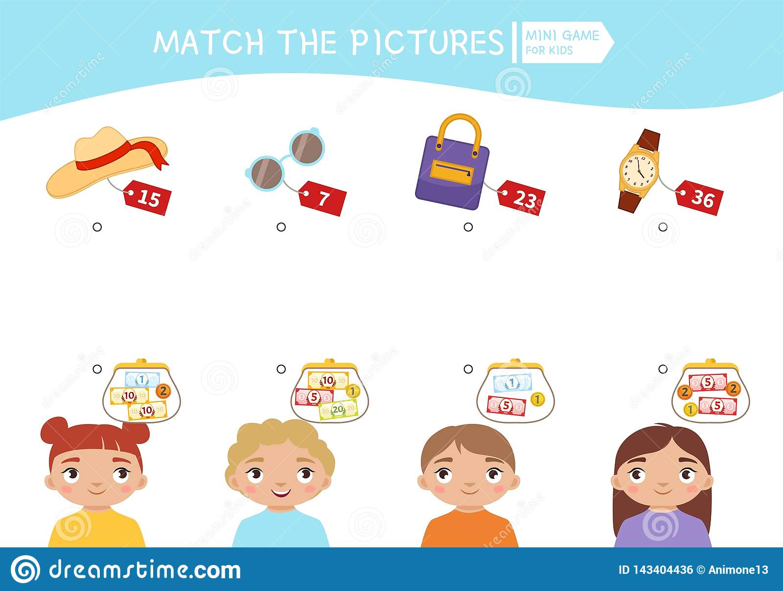 Kids Educational Game Stock Vector Illustration Of Money