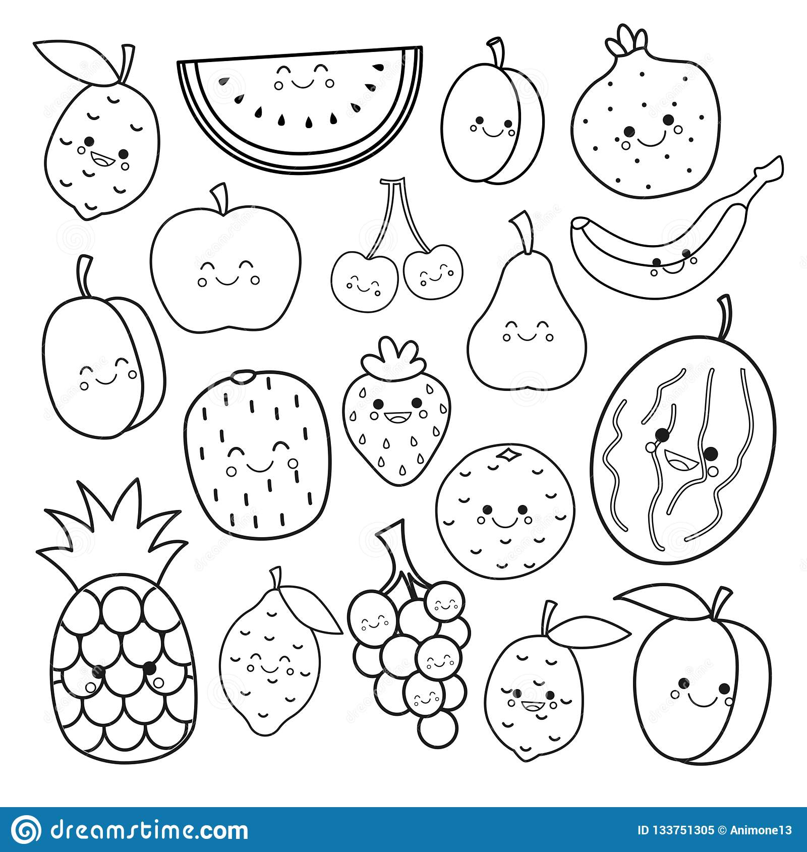 Vector Set Of Cute Fruits Stock Vector Illustration Of