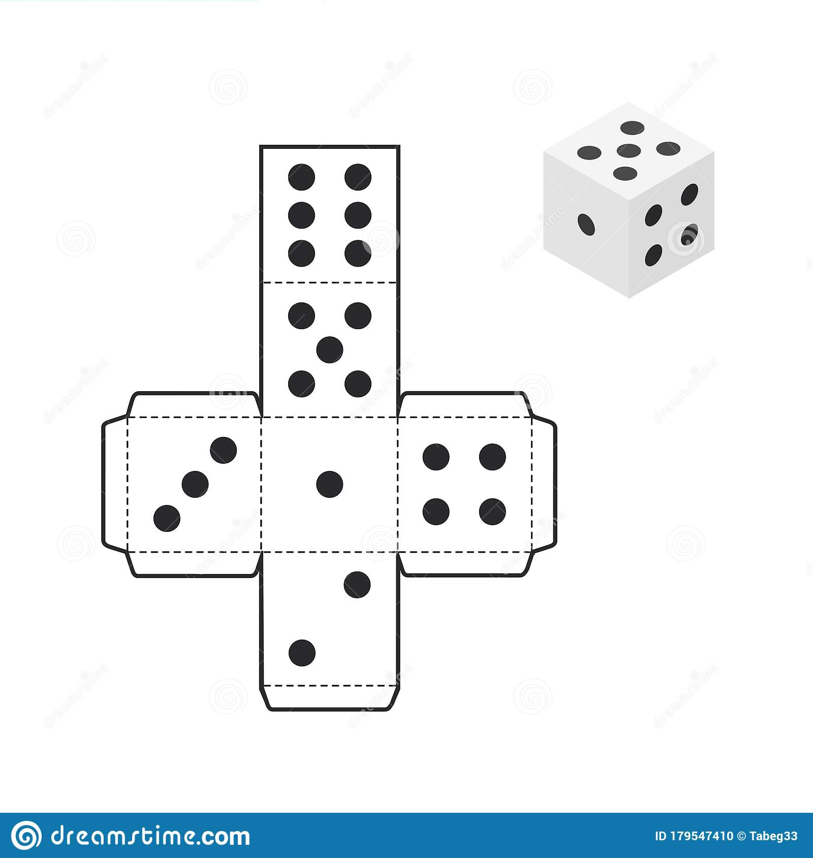 Printable Dice Template Isolated On White Background Stock
