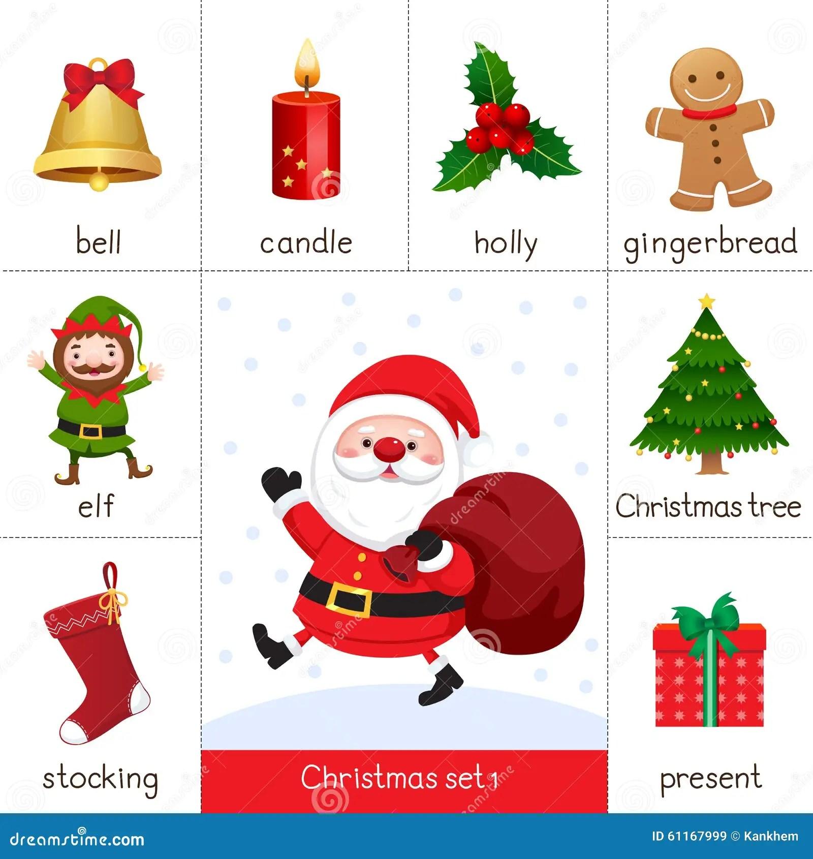Printable Flash Card For Christmas Set And Santa Claus