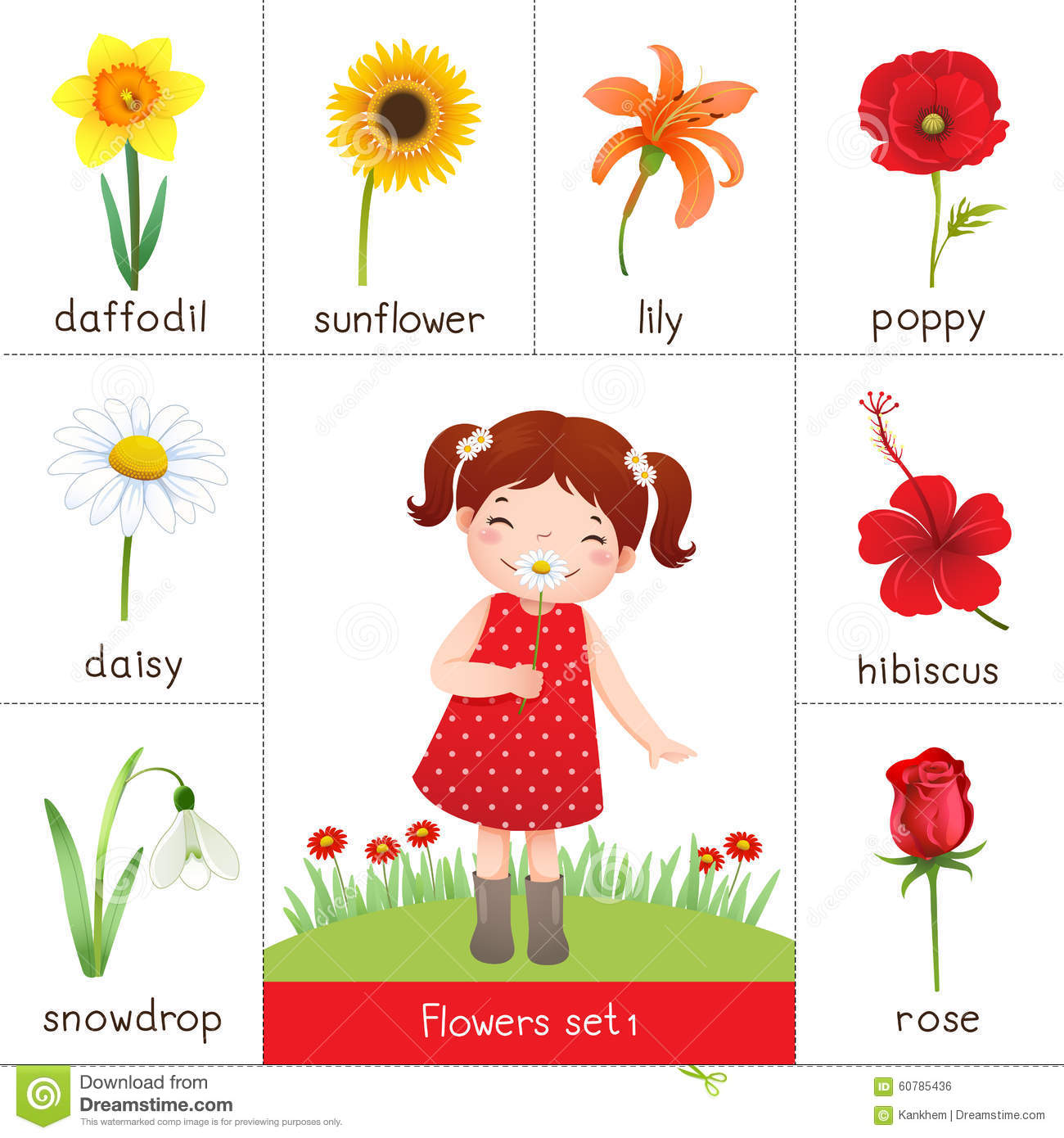Printable Flash Card For Flowers And Little Girl Smelling