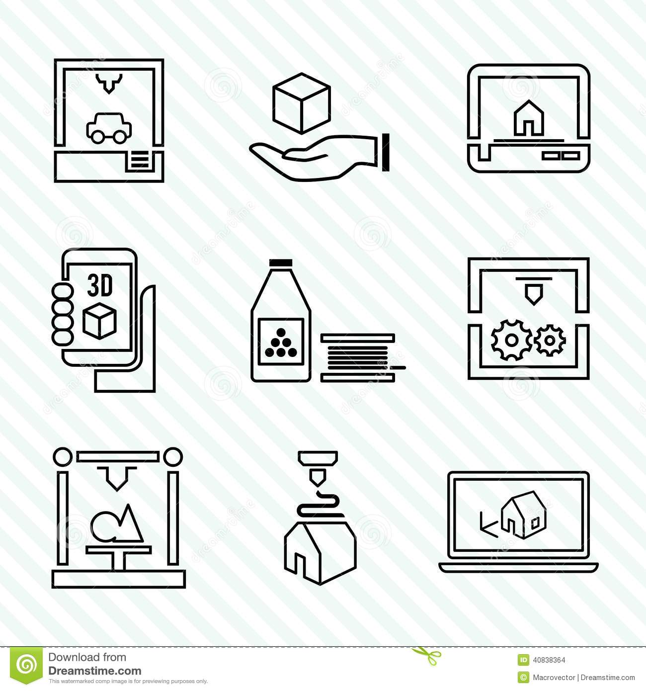 Printer 3d Icons Set Stock Vector Image Of Concept