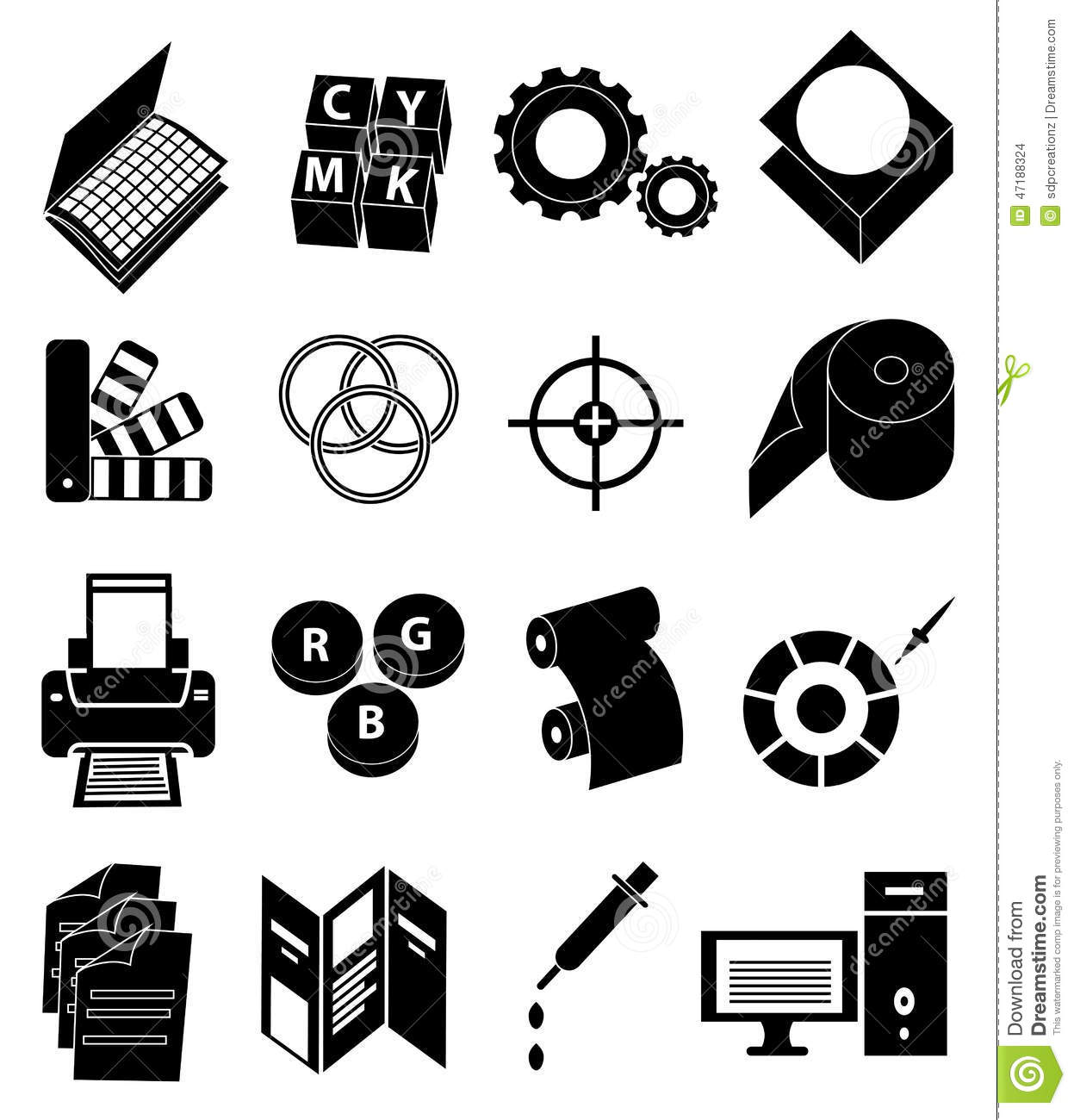 Printing Press Icons Set Stock Vector