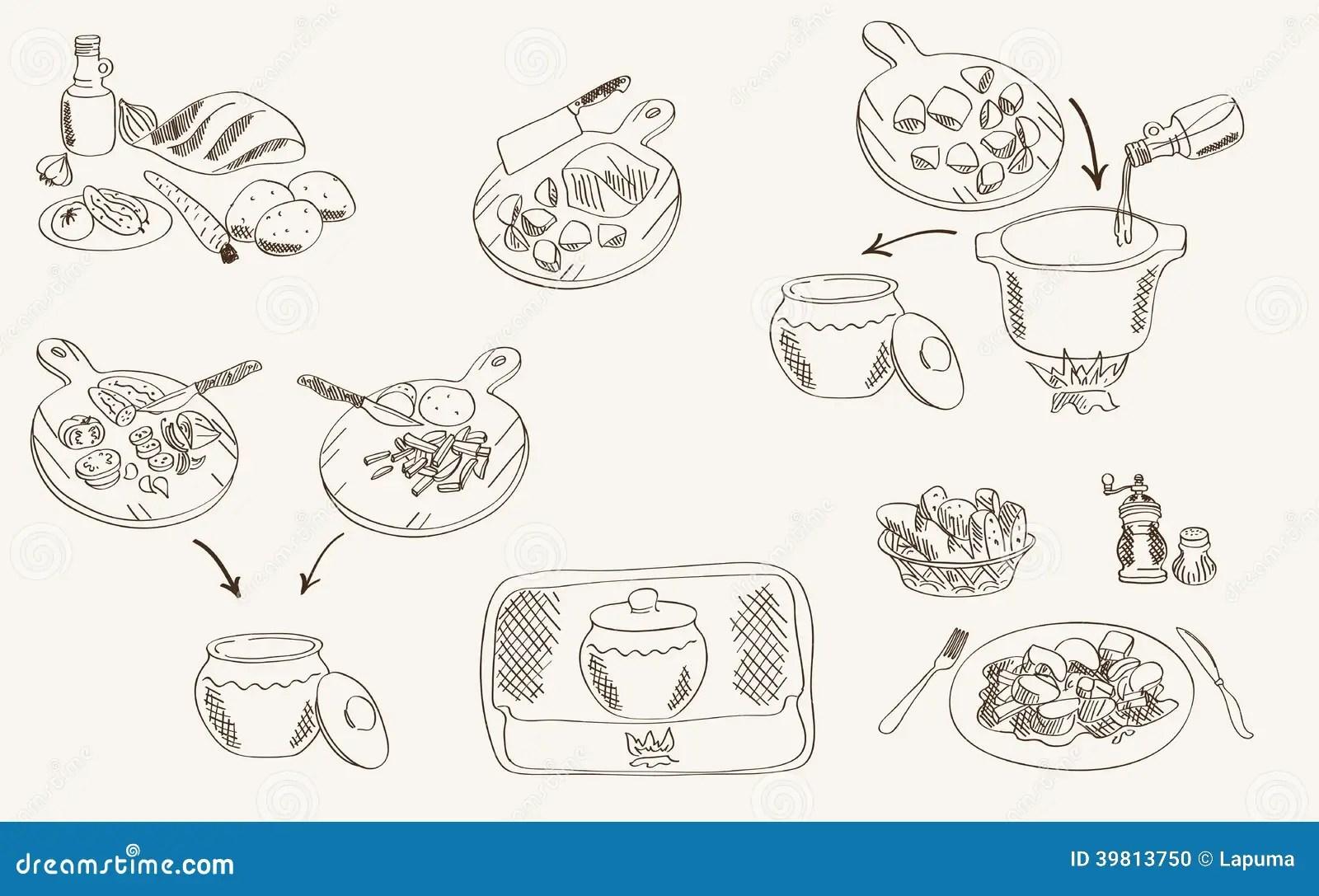 Proces Om Rundvlees In Een Pot Te Koken Vector Illustratie