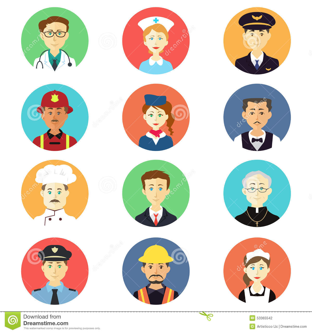 Profession Icons Stock Vector