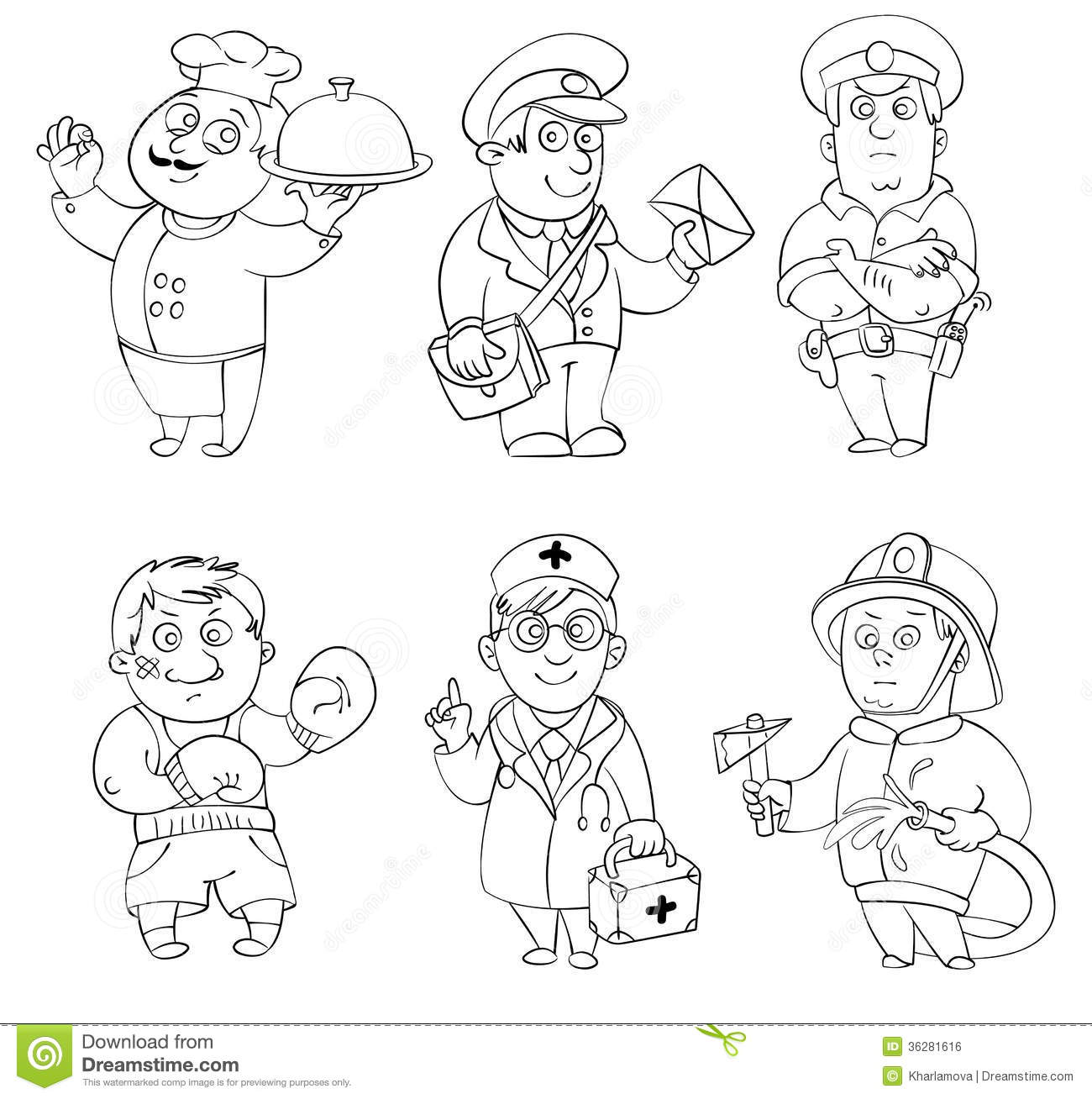 Professions Coloring Book Stock Vector Illustration Of