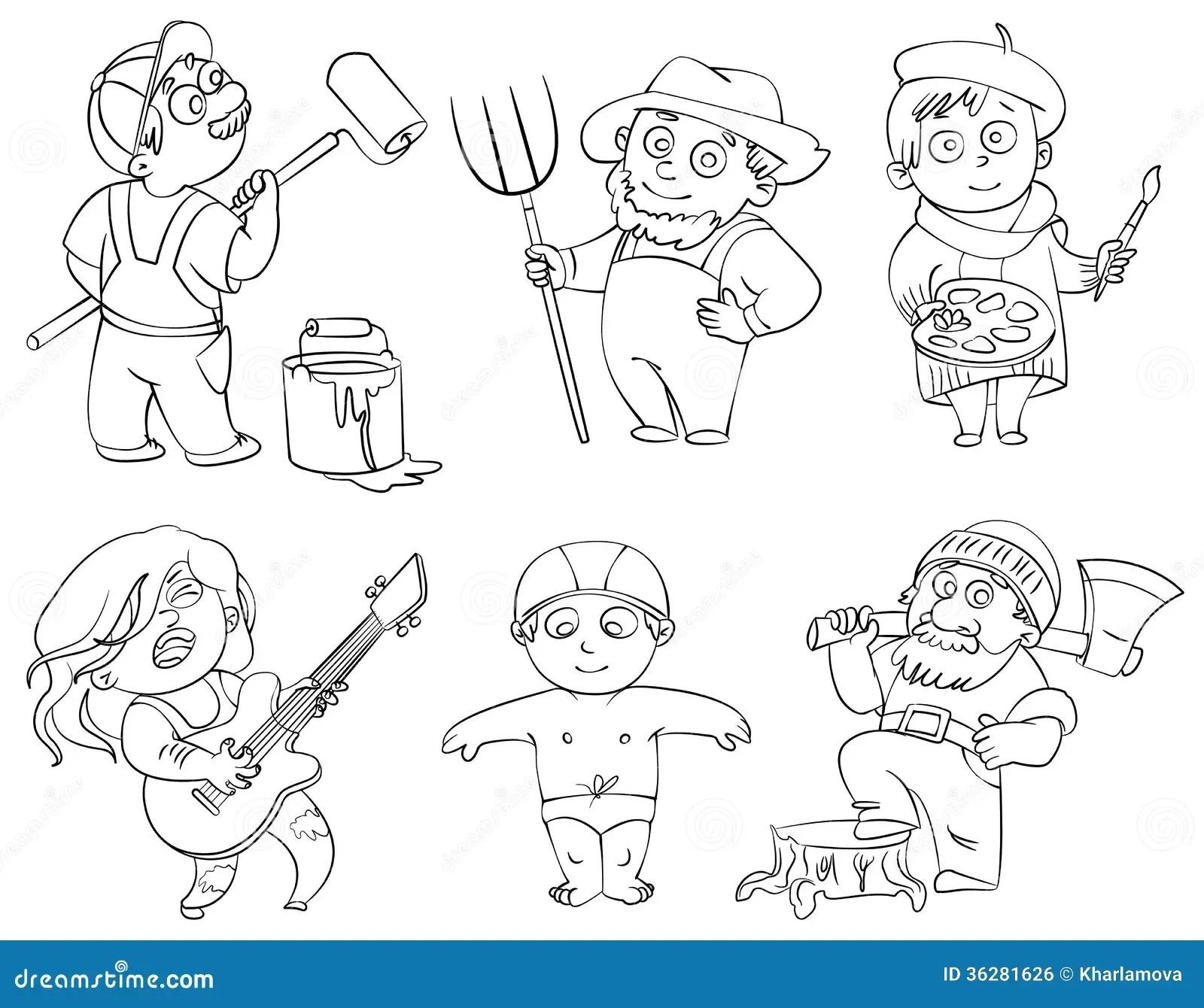 Professions Livre De Coloriage Illustration De Vecteur
