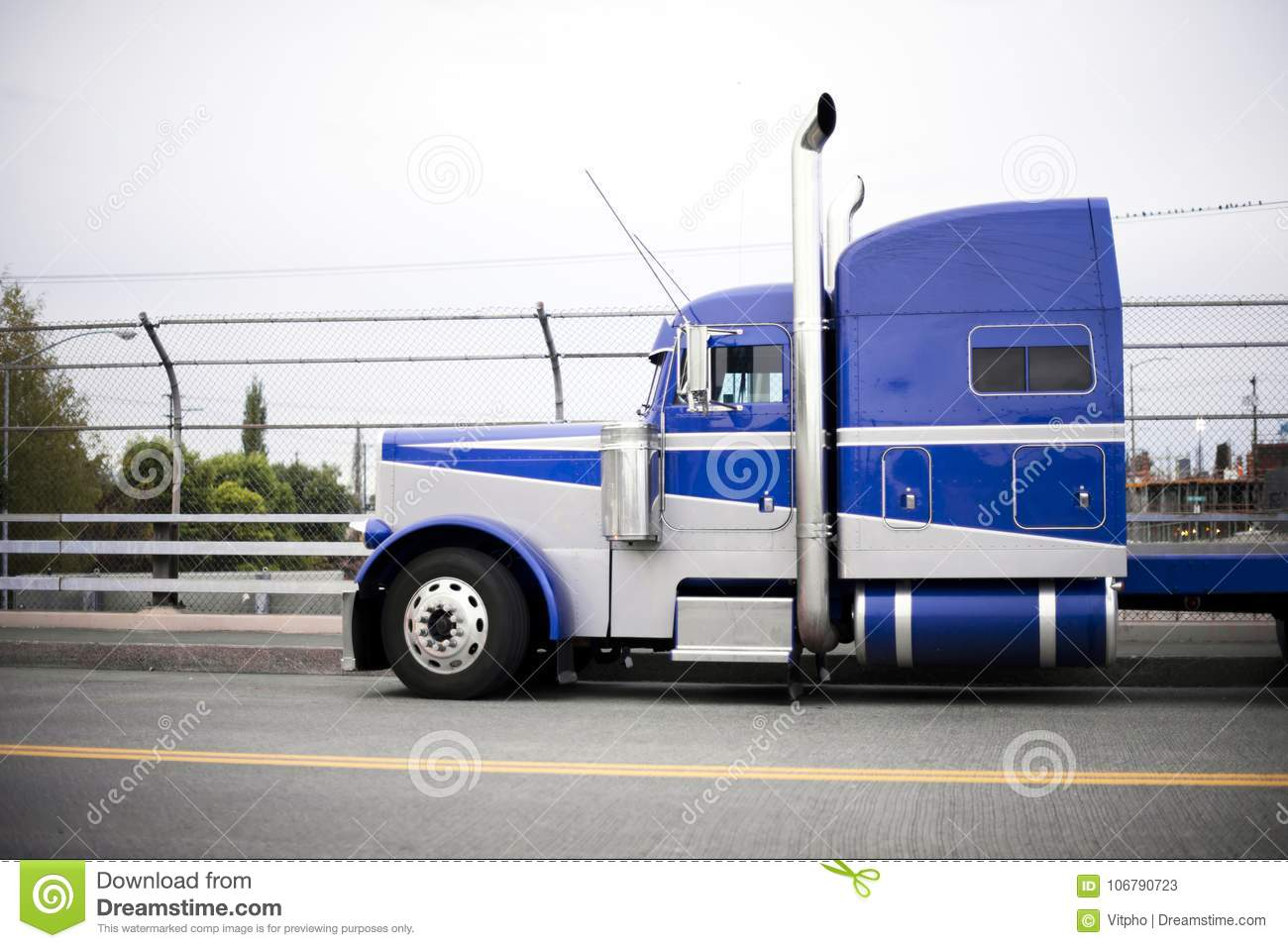 https www dreamstime com profile blue american classic popular powerful big rig semi truck tractor chrome accessories tall exhaust pipes image106790723
