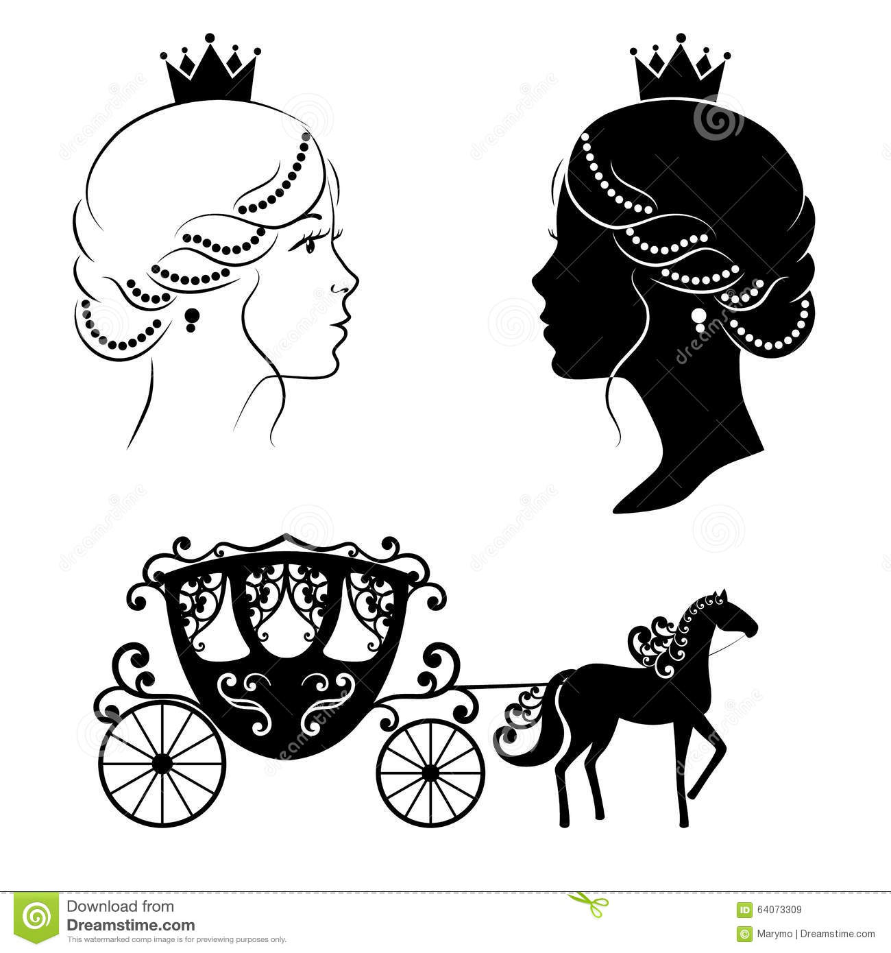 Profile Silhouette Of A Princess And Carriage Stock Vector