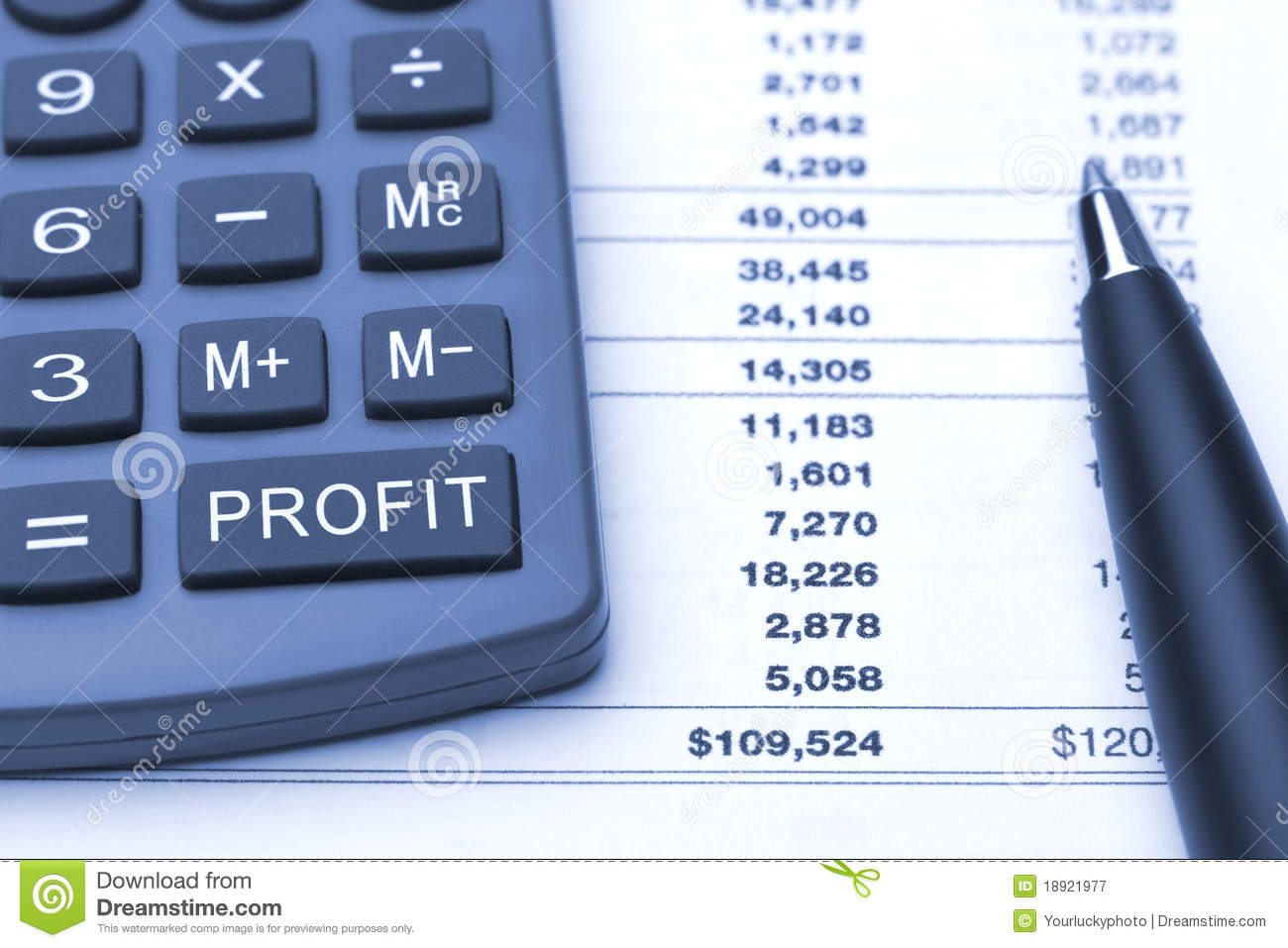 Profit Button On Calculator Pen And Report Royalty Free Stock Photography