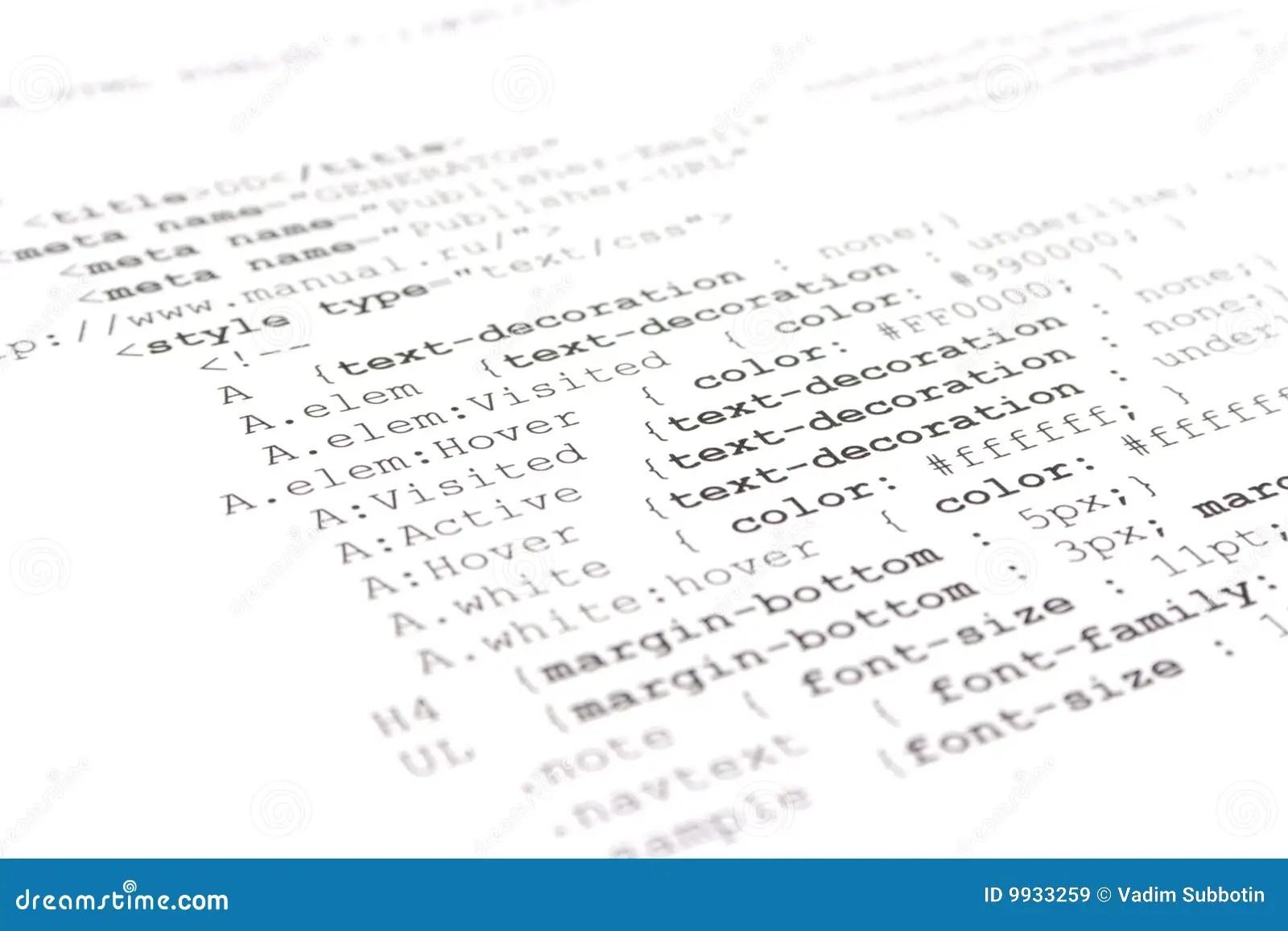 Programming Html Code Stock Image Image Of Internet Number