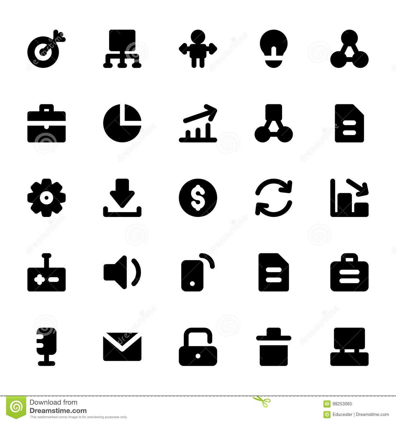 Project Management Solid Icons Stock Illustration