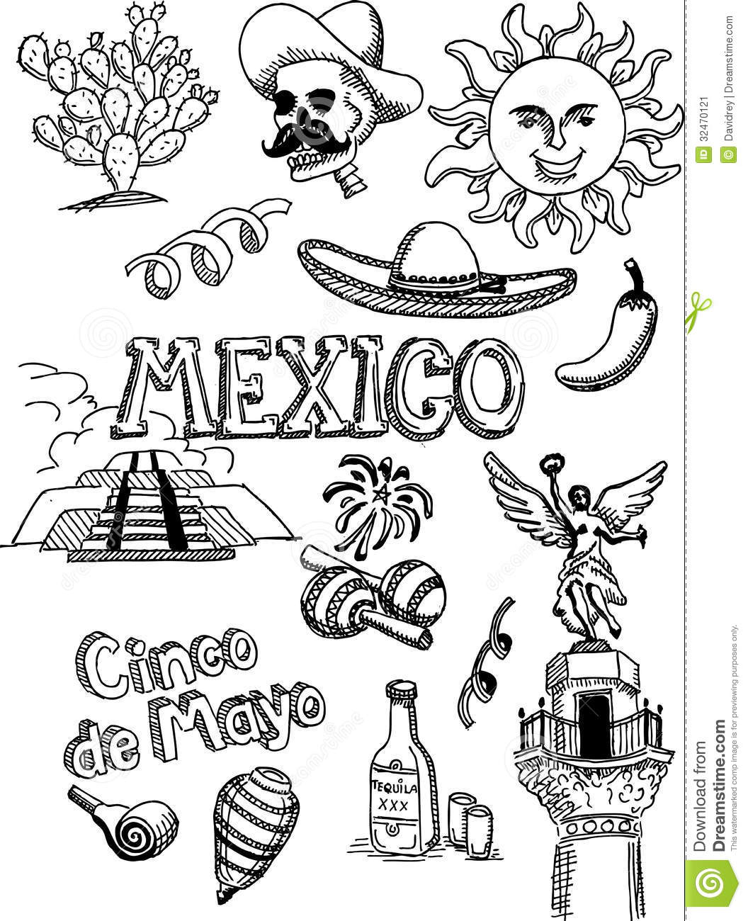 Mexico Doodle Stock Vector Image Of Jalapeno Maracs