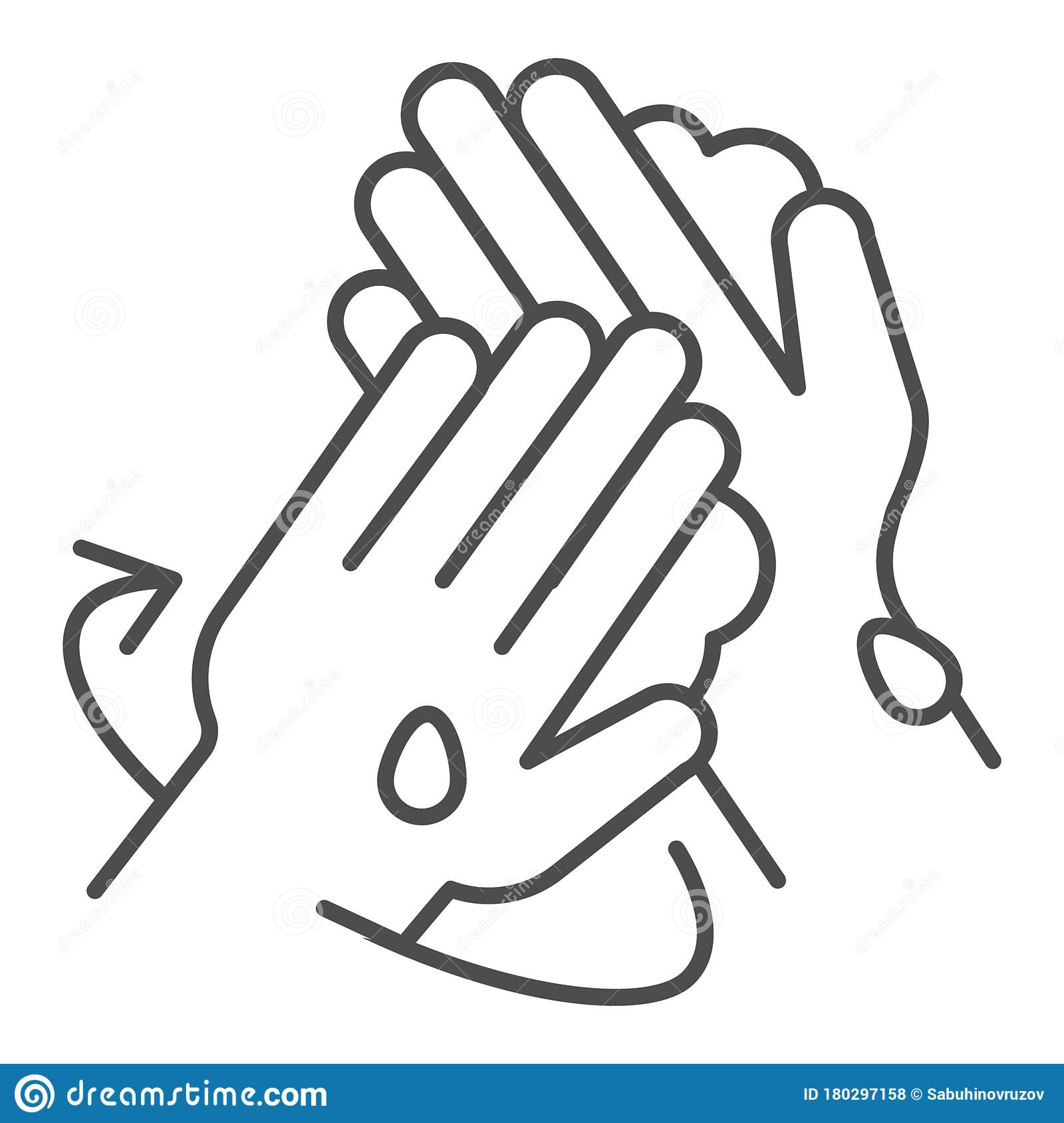 Proper Hand Washing Instruction Thin Line Icon Personal